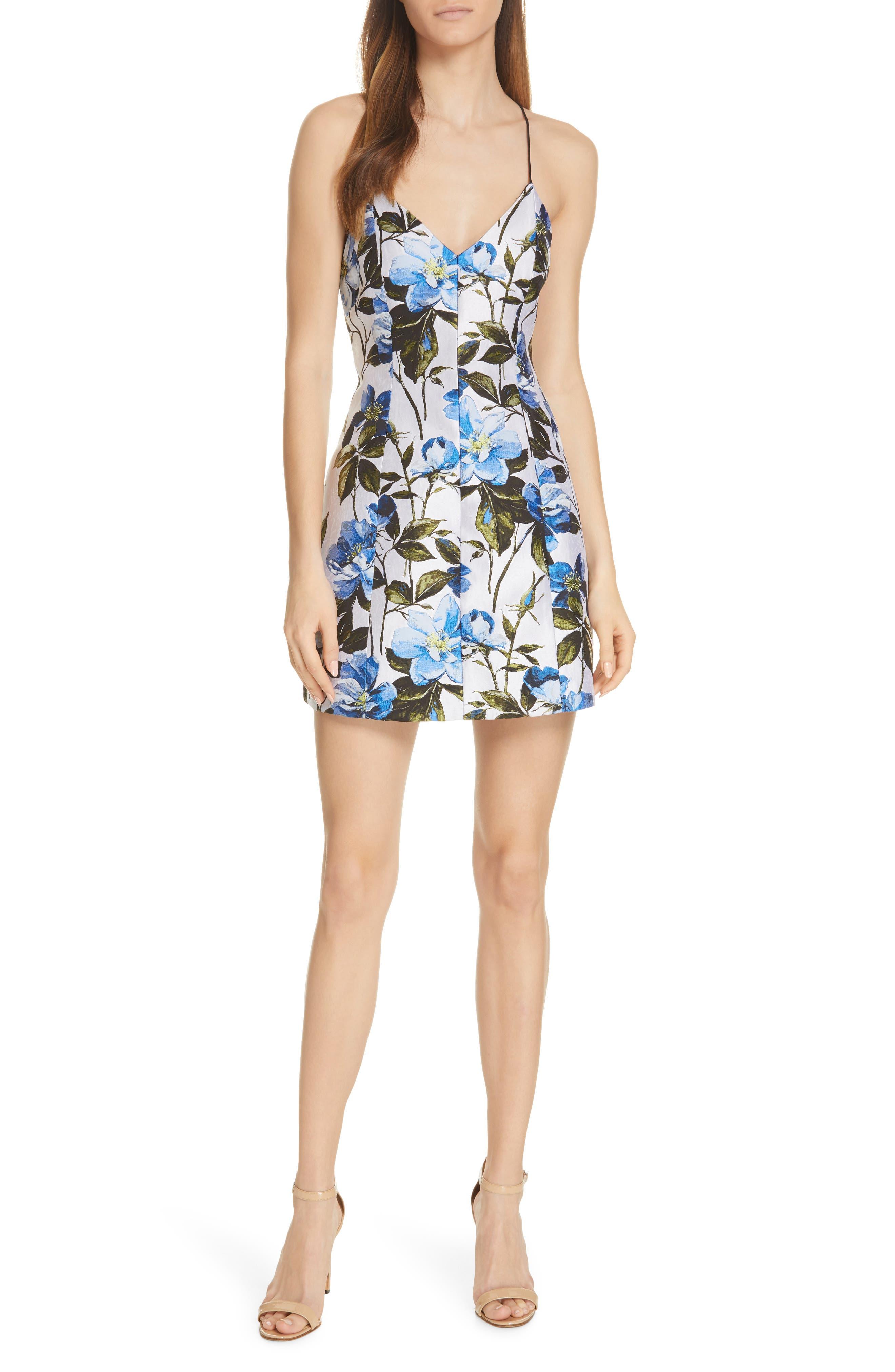 Alice + Olivia Tayla Floral Jacquard Paneled Minidress, Ivory