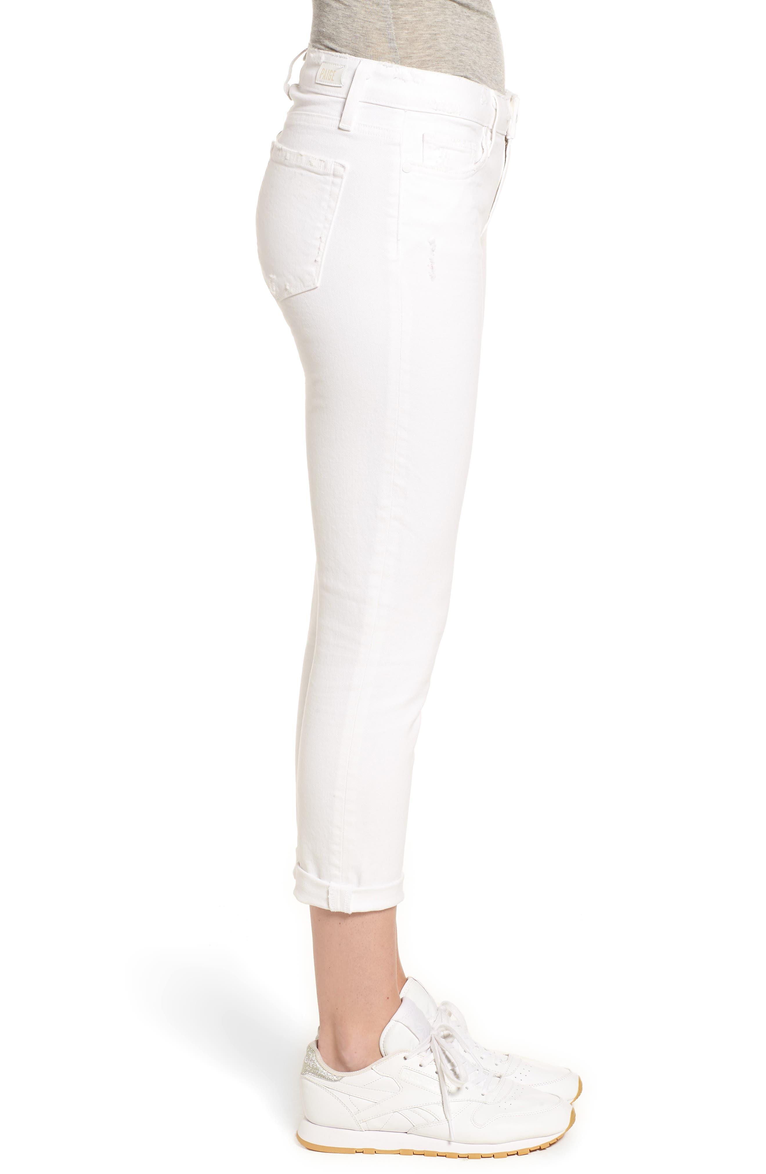 PAIGE, Skyline Raw Hem Crop Skinny Jeans, Alternate thumbnail 4, color, LIVED IN CRISP WHITE
