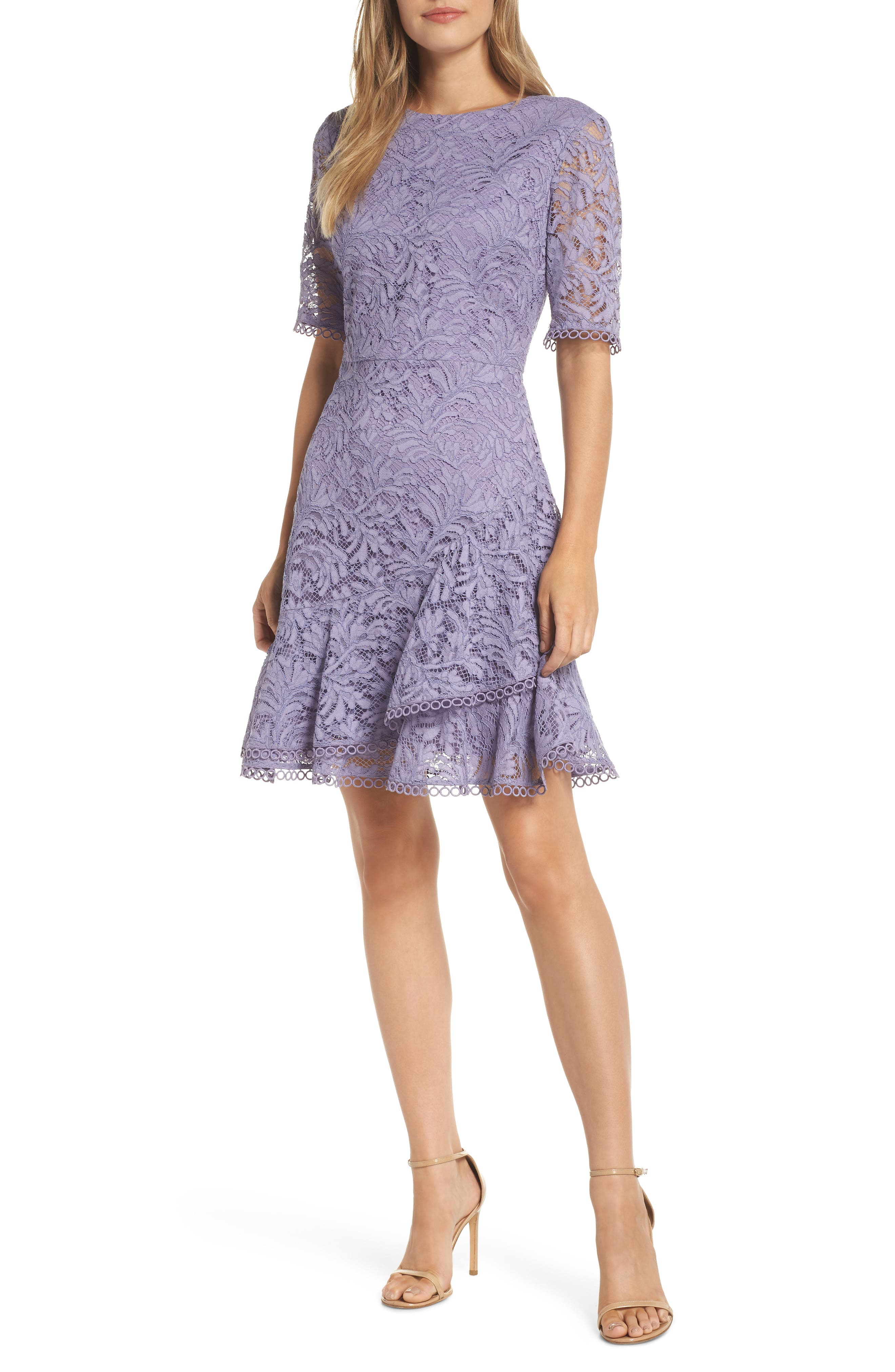 VINCE CAMUTO, Asymmetrical Ruffle Lace Fit & Flare Dress, Main thumbnail 1, color, 524