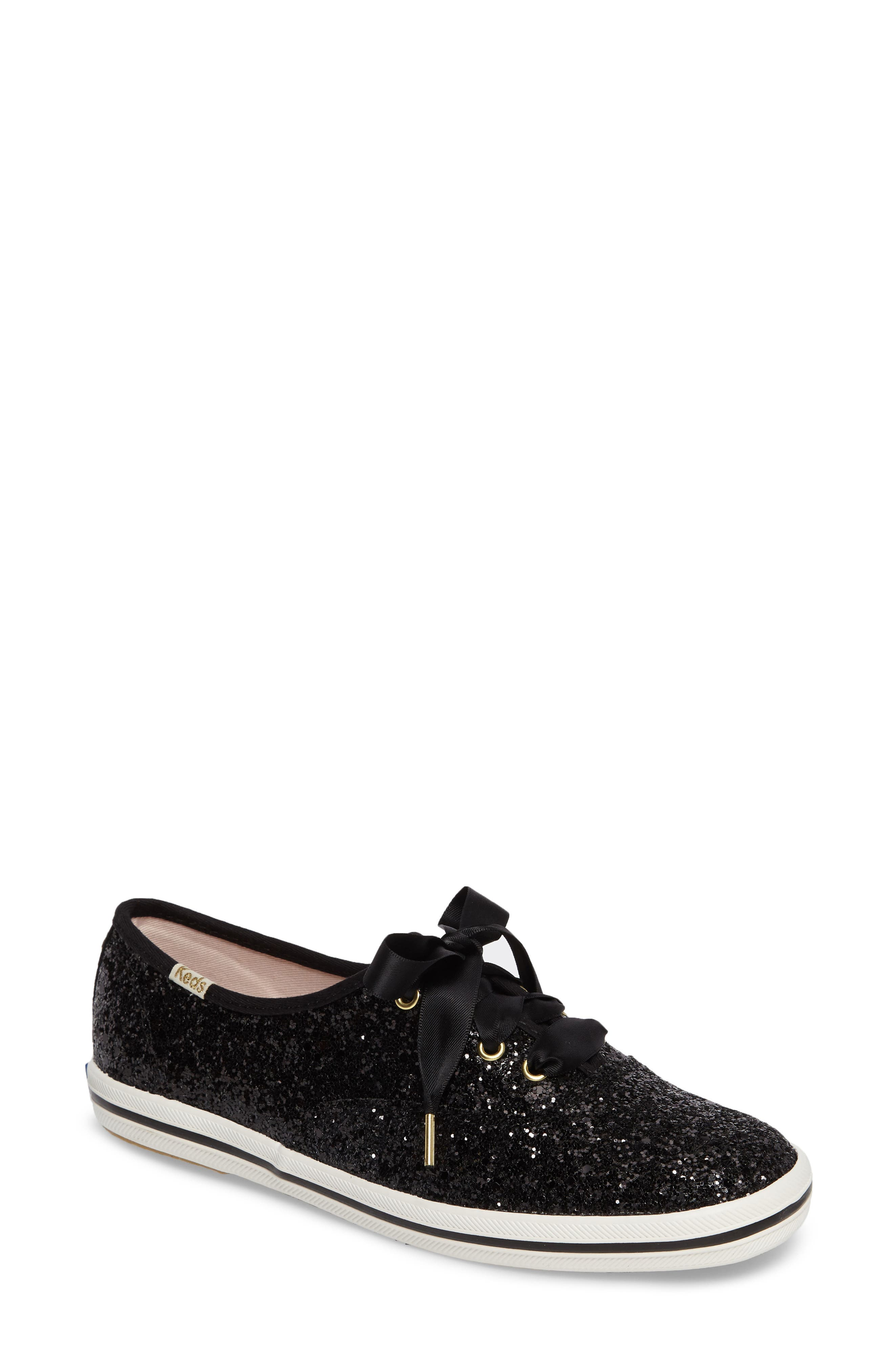 KEDS<SUP>®</SUP> FOR KATE SPADE NEW YORK glitter sneaker, Main, color, BLACK