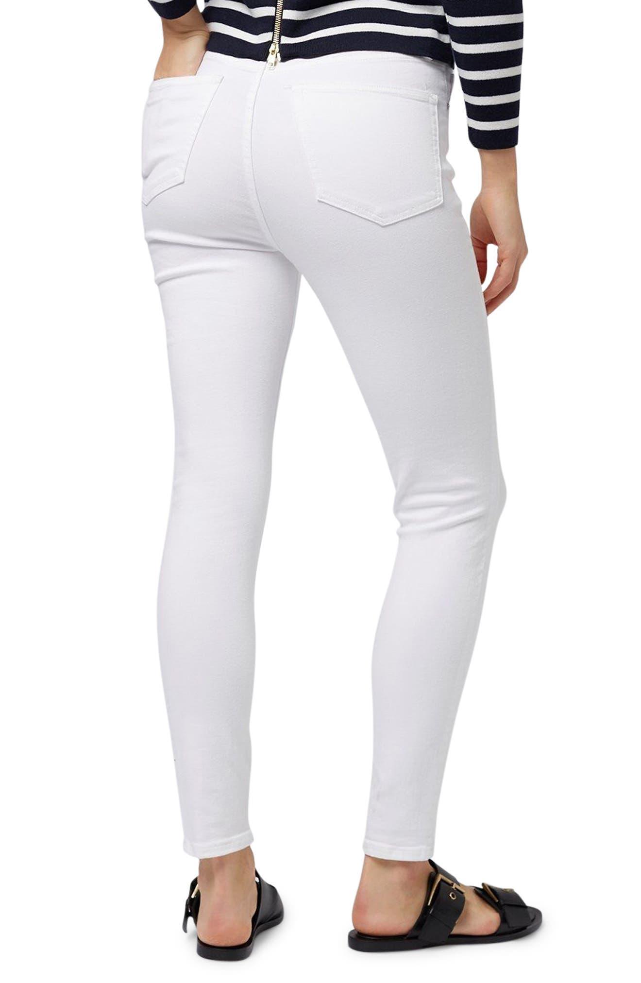 TOPSHOP, Moto Jamie Jeans, Alternate thumbnail 2, color, WHITE