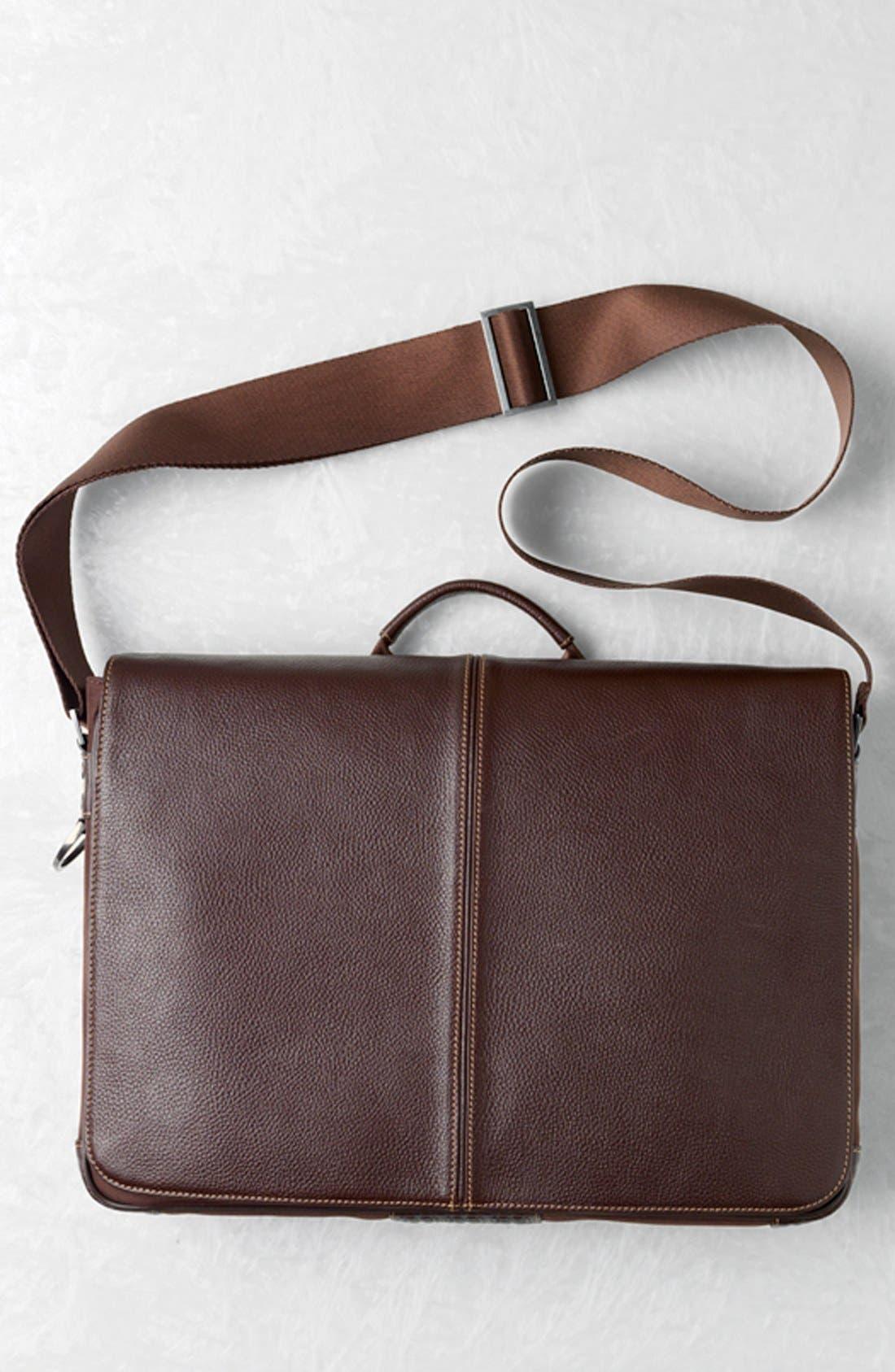 BOCONI, Tyler Slim Leather Laptop Briefcase, Alternate thumbnail 5, color, BLACK/ KHAKI