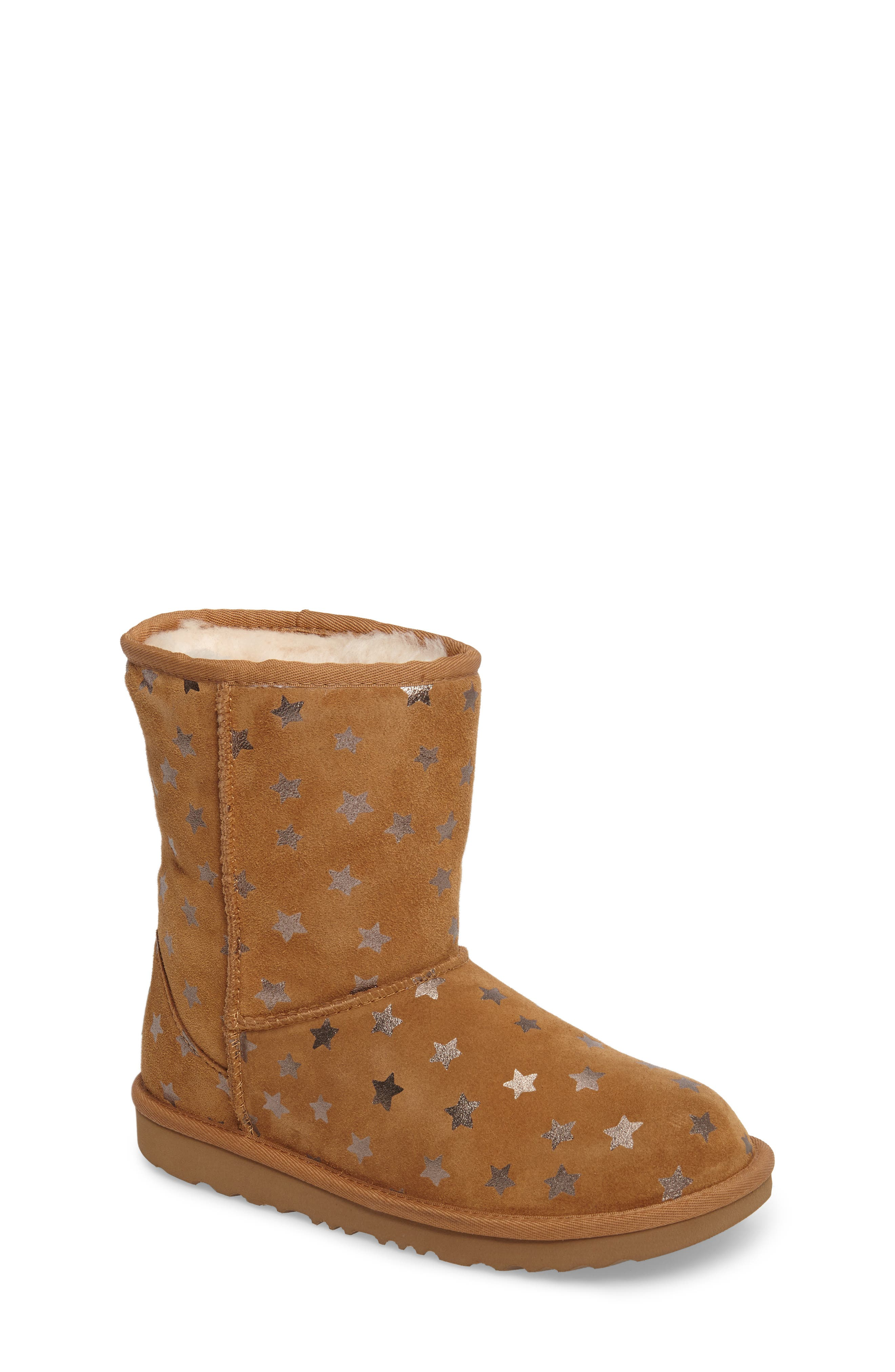 UGG<SUP>®</SUP>, Classic Short II Water Resistant Stars Boot, Main thumbnail 1, color, CHESTNUT