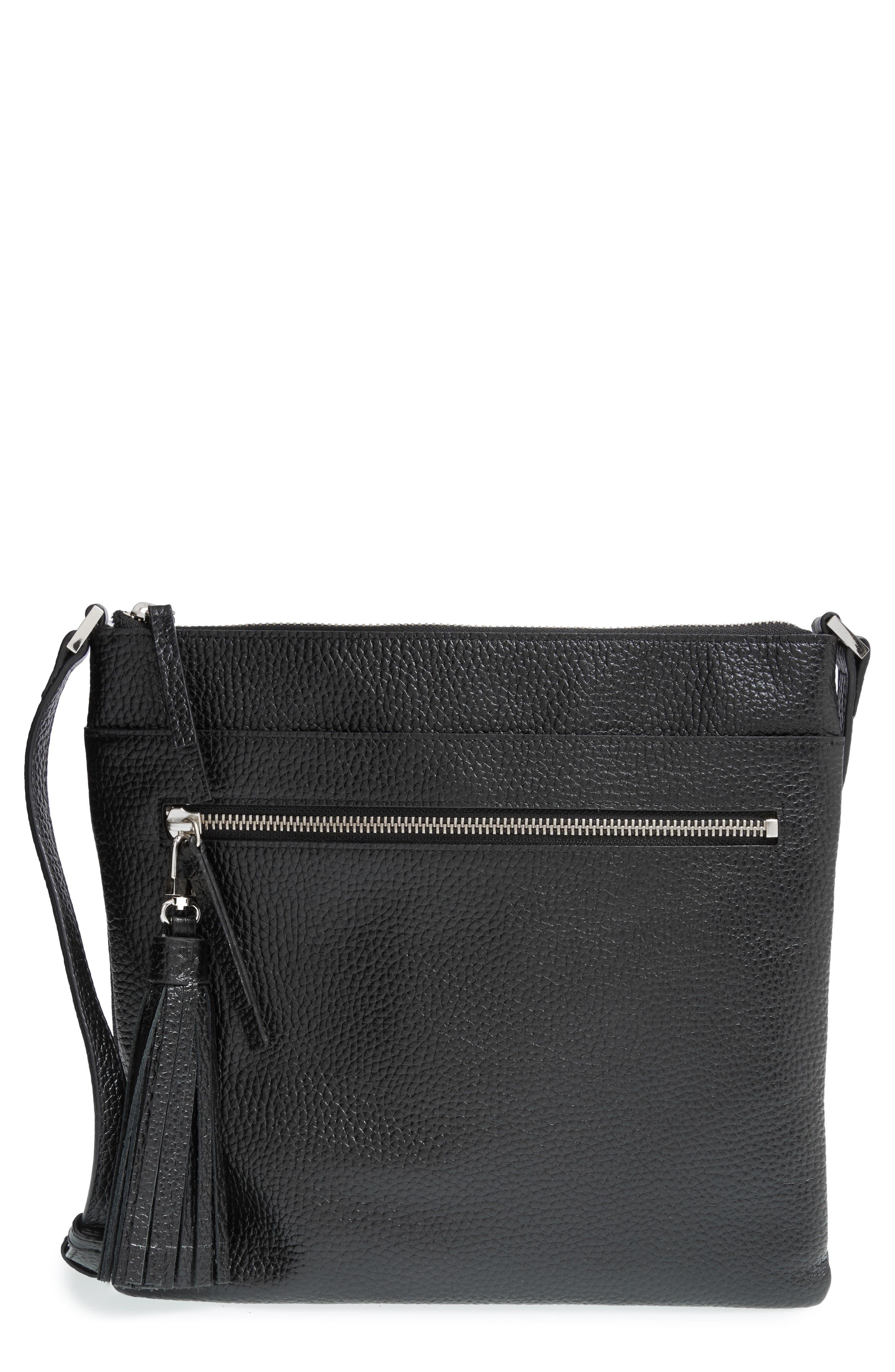 HALOGEN<SUP>®</SUP>, Tasseled Leather Crossbody Bag, Alternate thumbnail 2, color, 001
