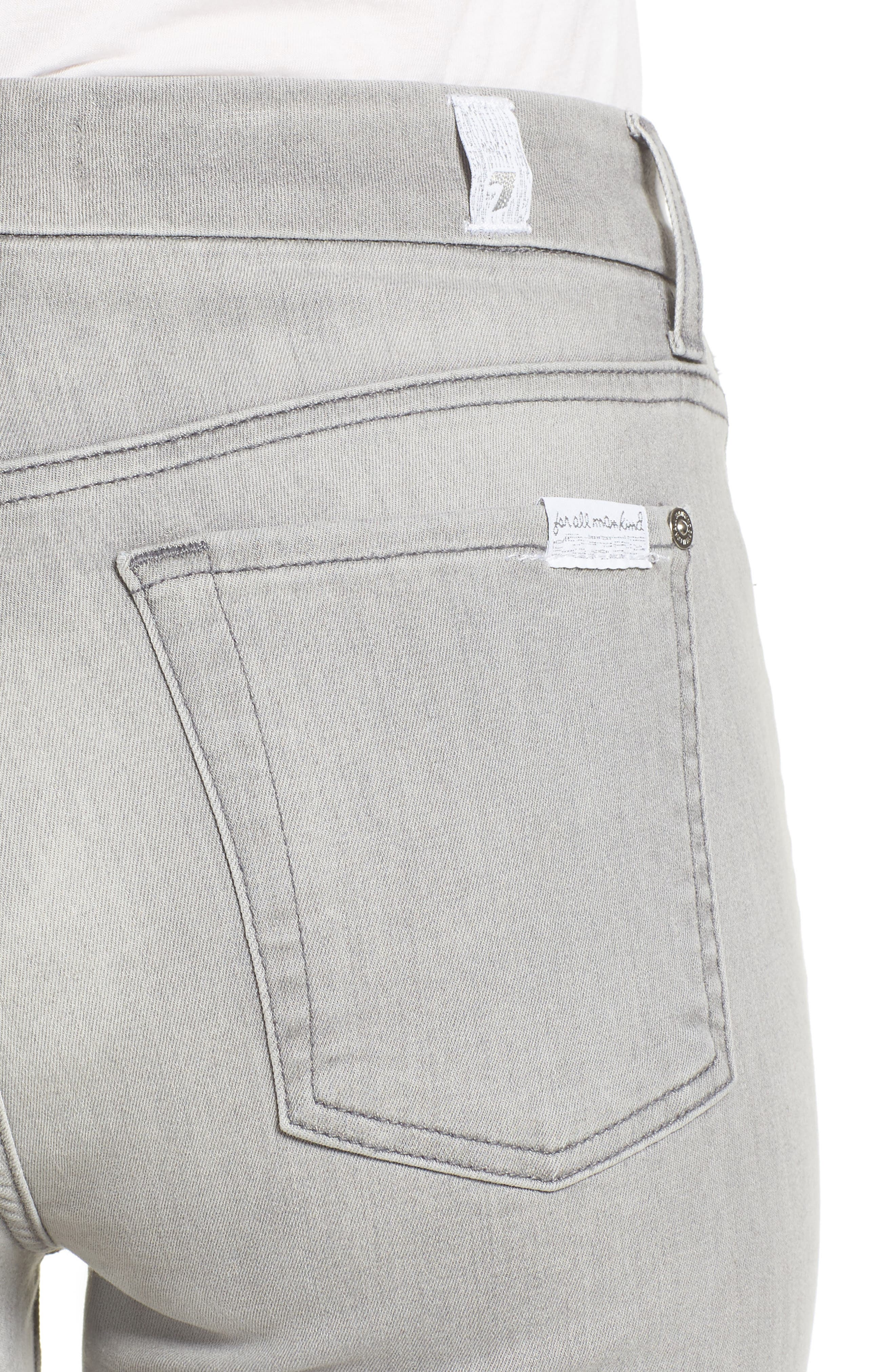 7 FOR ALL MANKIND<SUP>®</SUP>, b(air) High Waist Raw Hem Ankle Skinny Jeans, Alternate thumbnail 5, color, BAIR PURE SOFT GREY