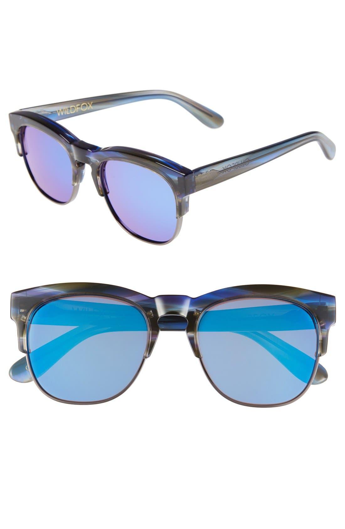 WILDFOX, 'Club Fox Deluxe' 52mm Sunglasses, Main thumbnail 1, color, 020