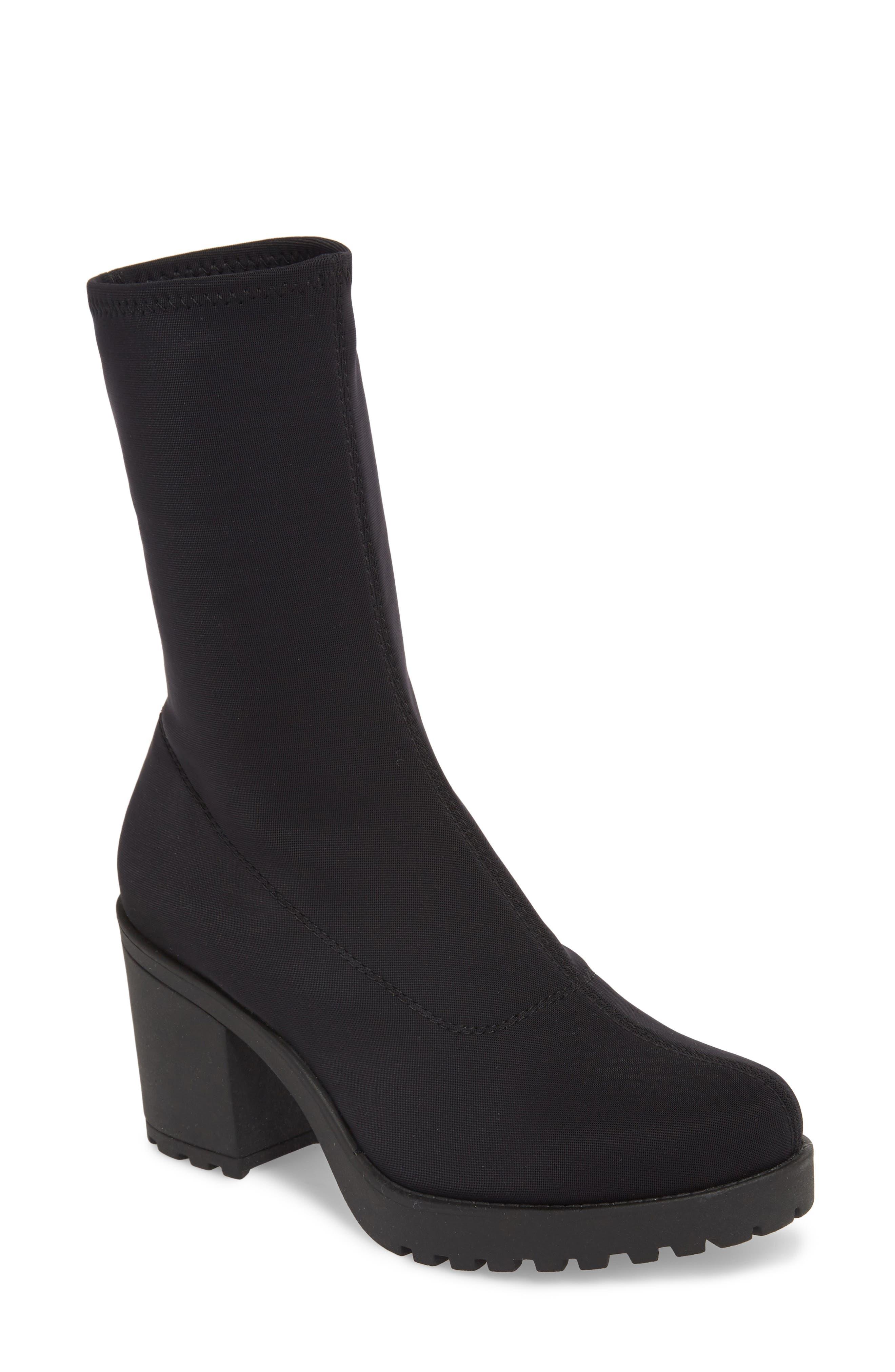 VAGABOND, Shoemakers Grace Platform Bootie, Main thumbnail 1, color, BLACK FABRIC