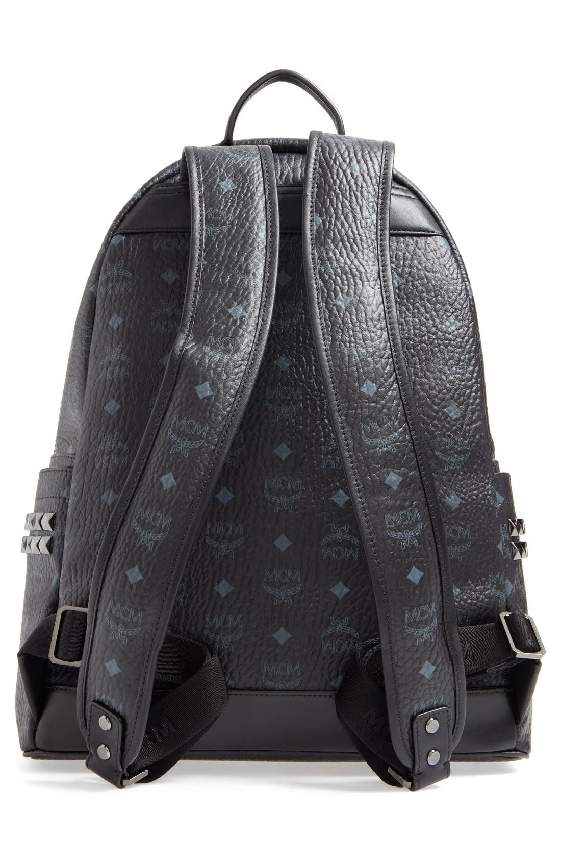 MCM, Medium Stark Visetos Coated Canvas Backpack, Alternate thumbnail 2, color, BLACK