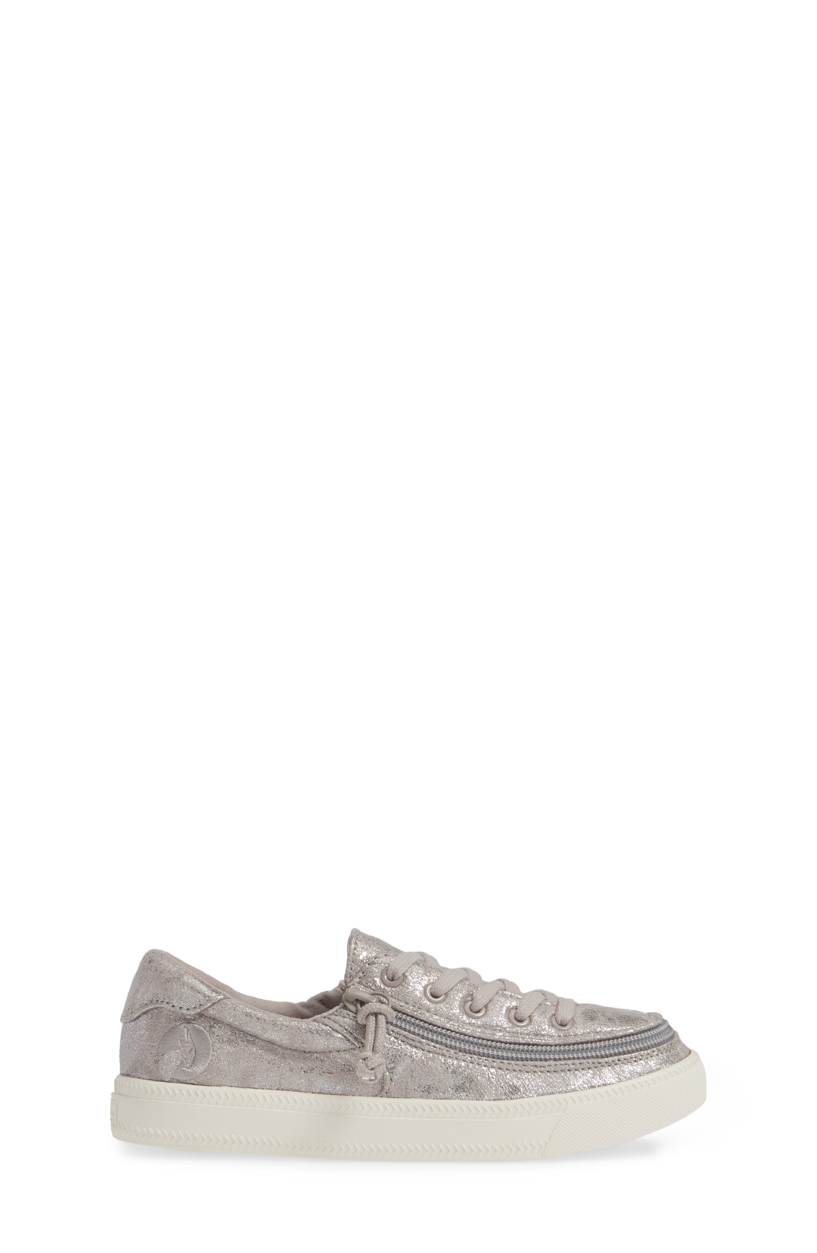 BILLY FOOTWEAR, Zip Around Low Top Sneaker, Alternate thumbnail 3, color, GREY METALLIC