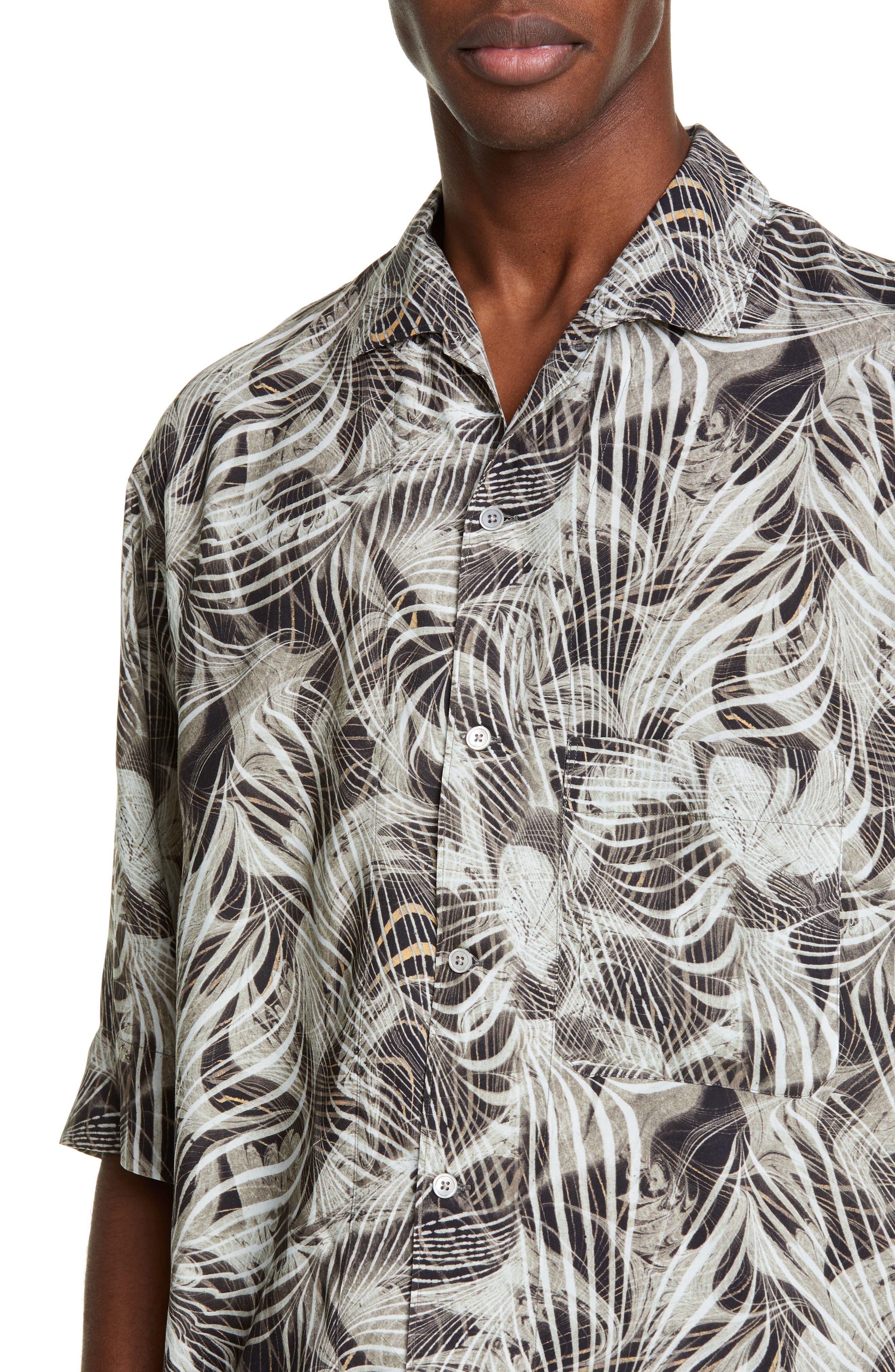 LEMAIRE, Tropical Print Sport Shirt, Alternate thumbnail 4, color, CHALK BLACK
