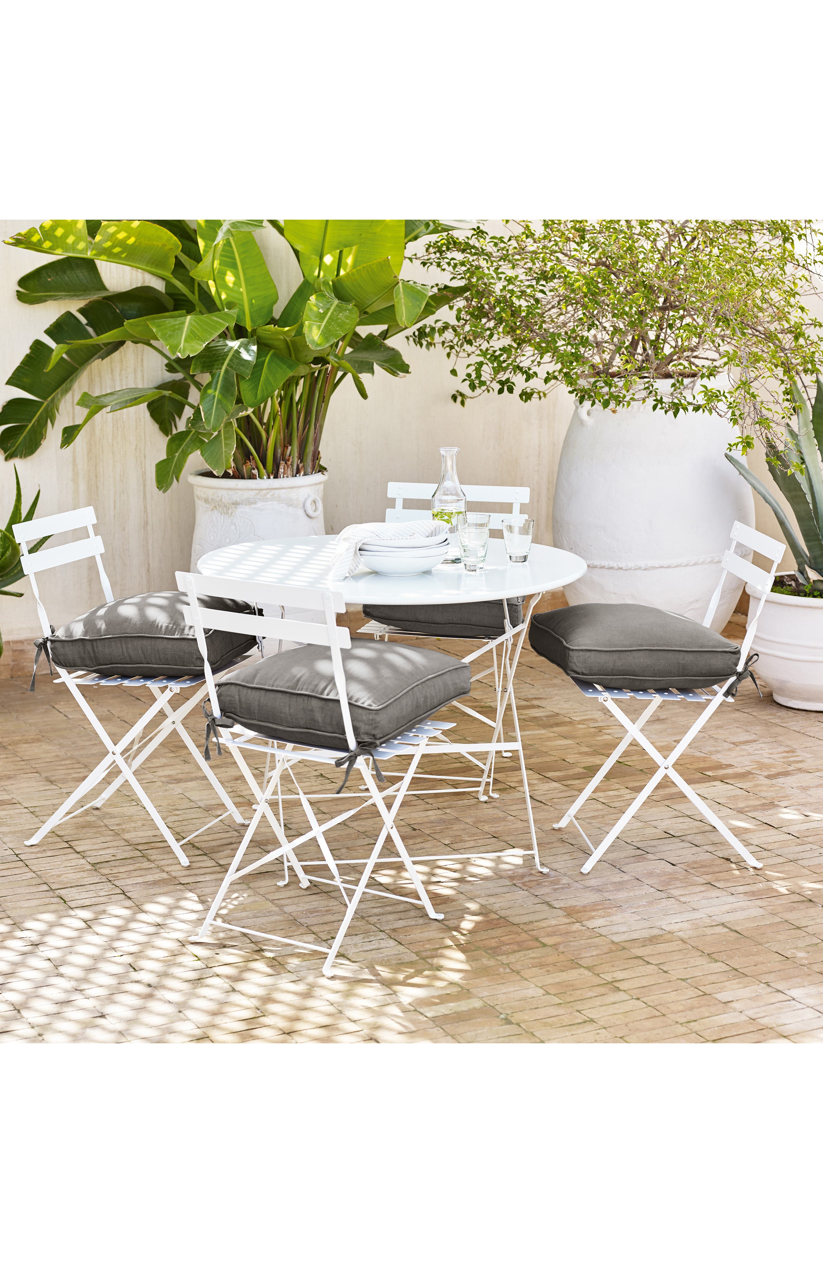 The White Company Aubrey Grey Chambray Cotton  Linen Seat Pad