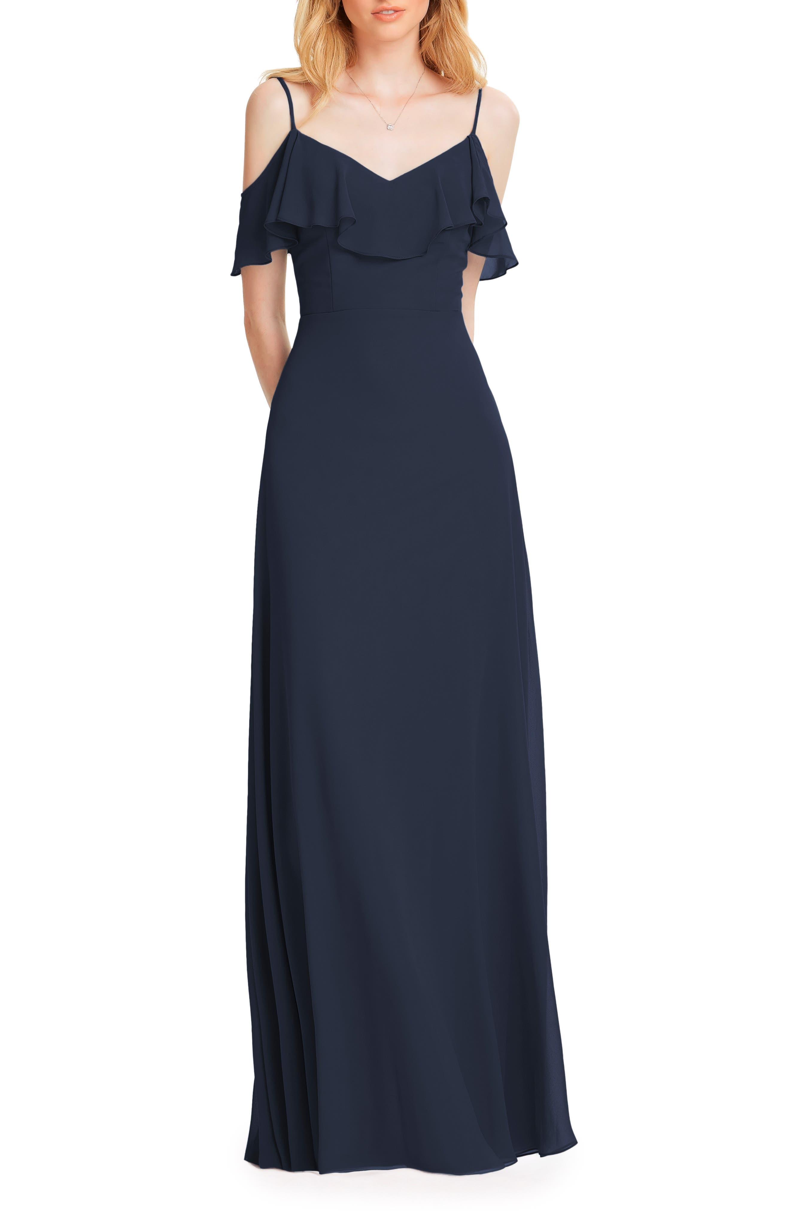 #LEVKOFF Ruffle Shoulder Chiffon Gown, Main, color, NAVY