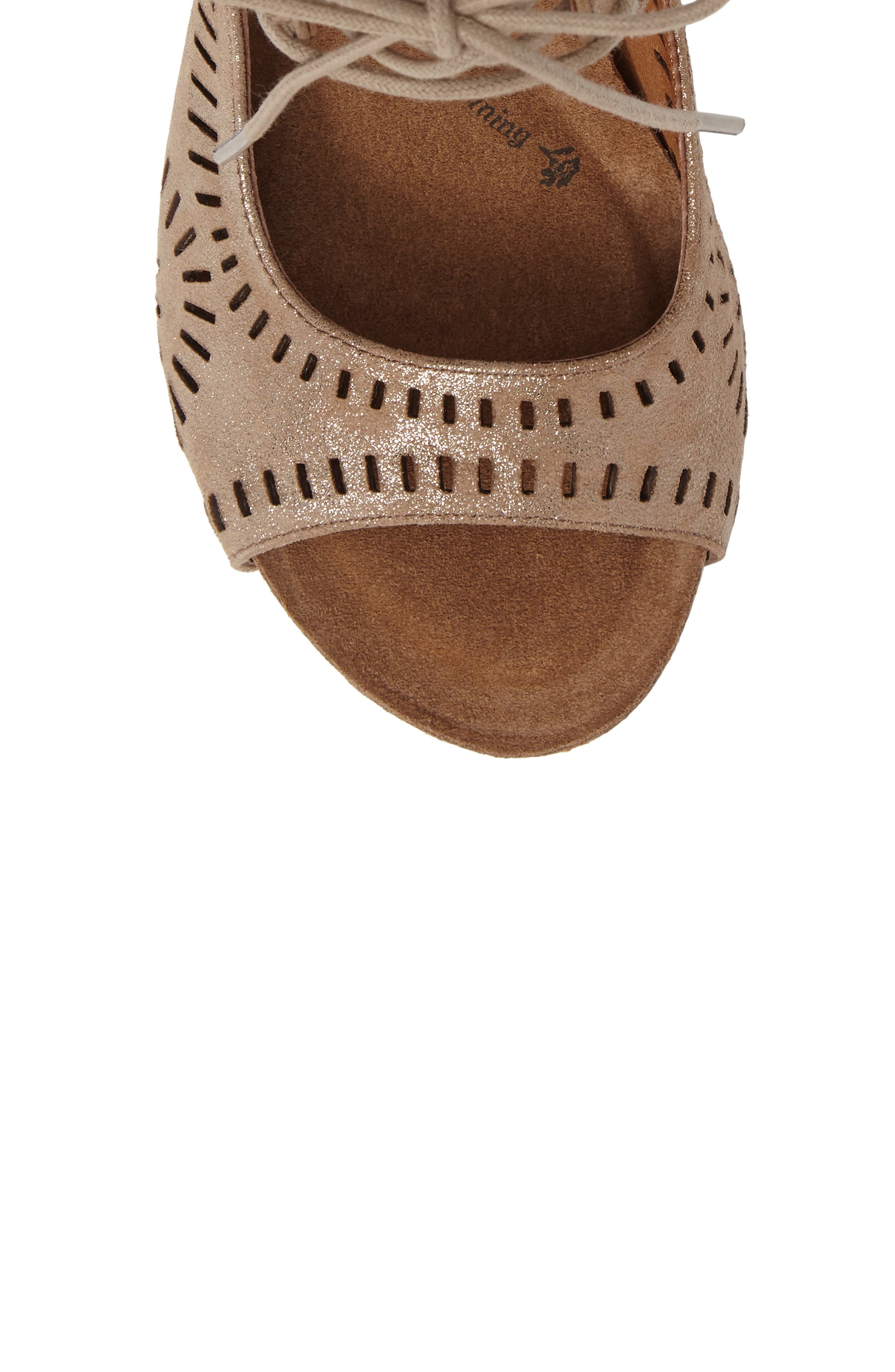 SÖFFT, Modesto Perforated Sandal, Alternate thumbnail 5, color, ANTHRACITE DISTRESSED FOIL