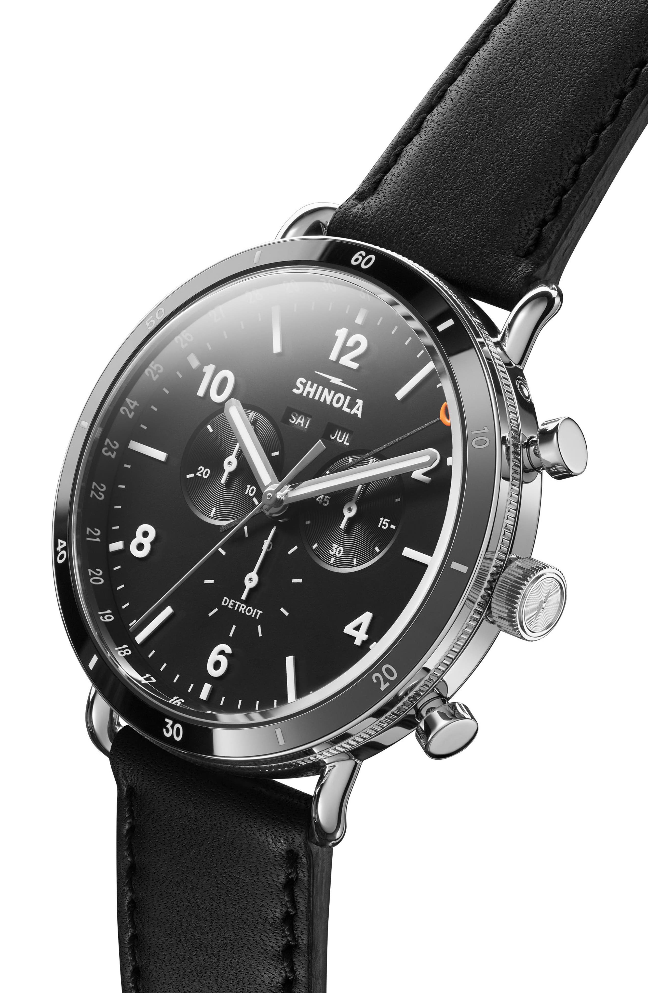 SHINOLA, The Canfield Chrono Leather Strap Watch, 45mm, Alternate thumbnail 5, color, BLACK/ SILVER