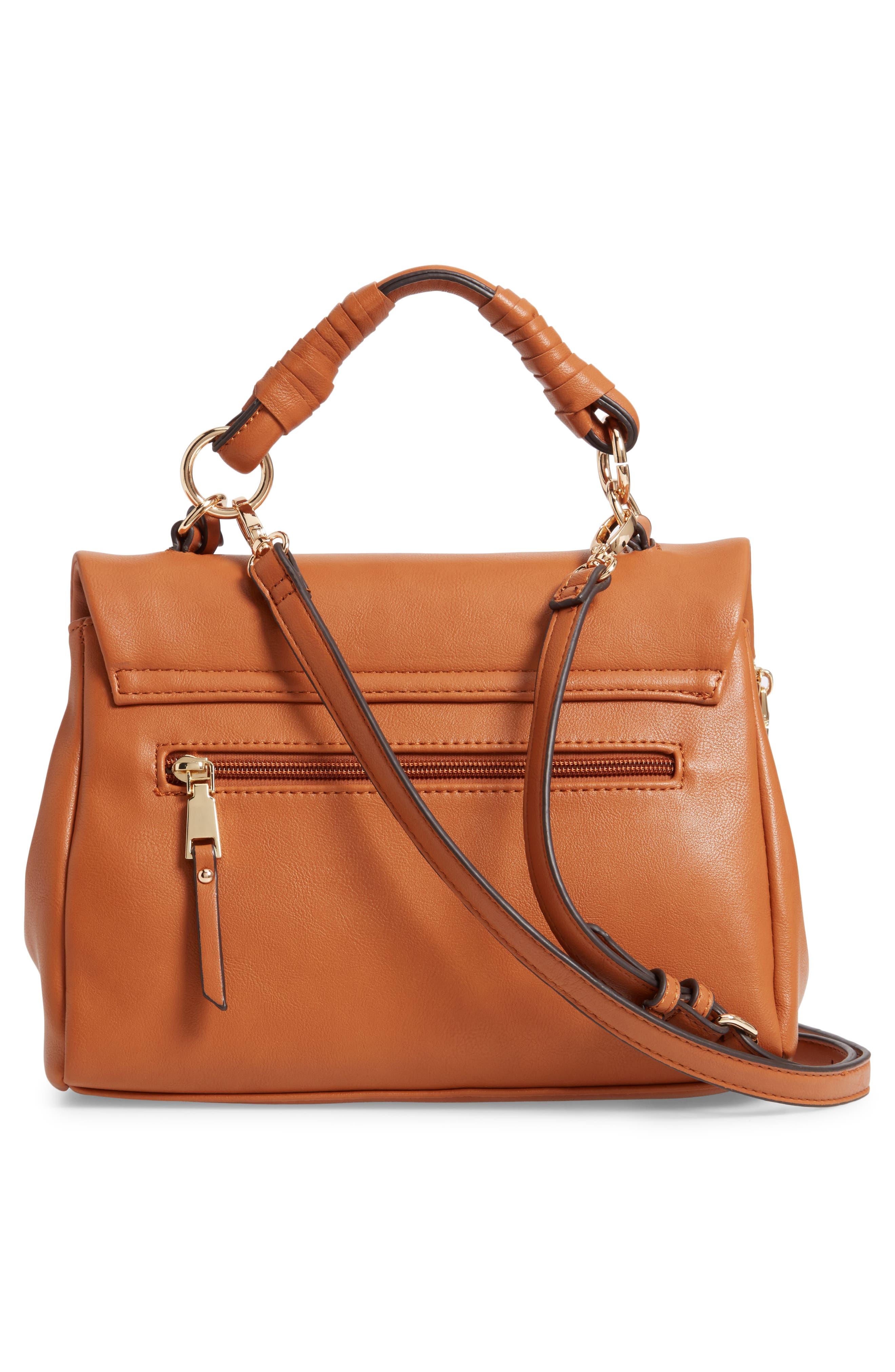 SOLE SOCIETY, Rubie Faux Leather Crossbody Bag, Alternate thumbnail 4, color, COGNAC
