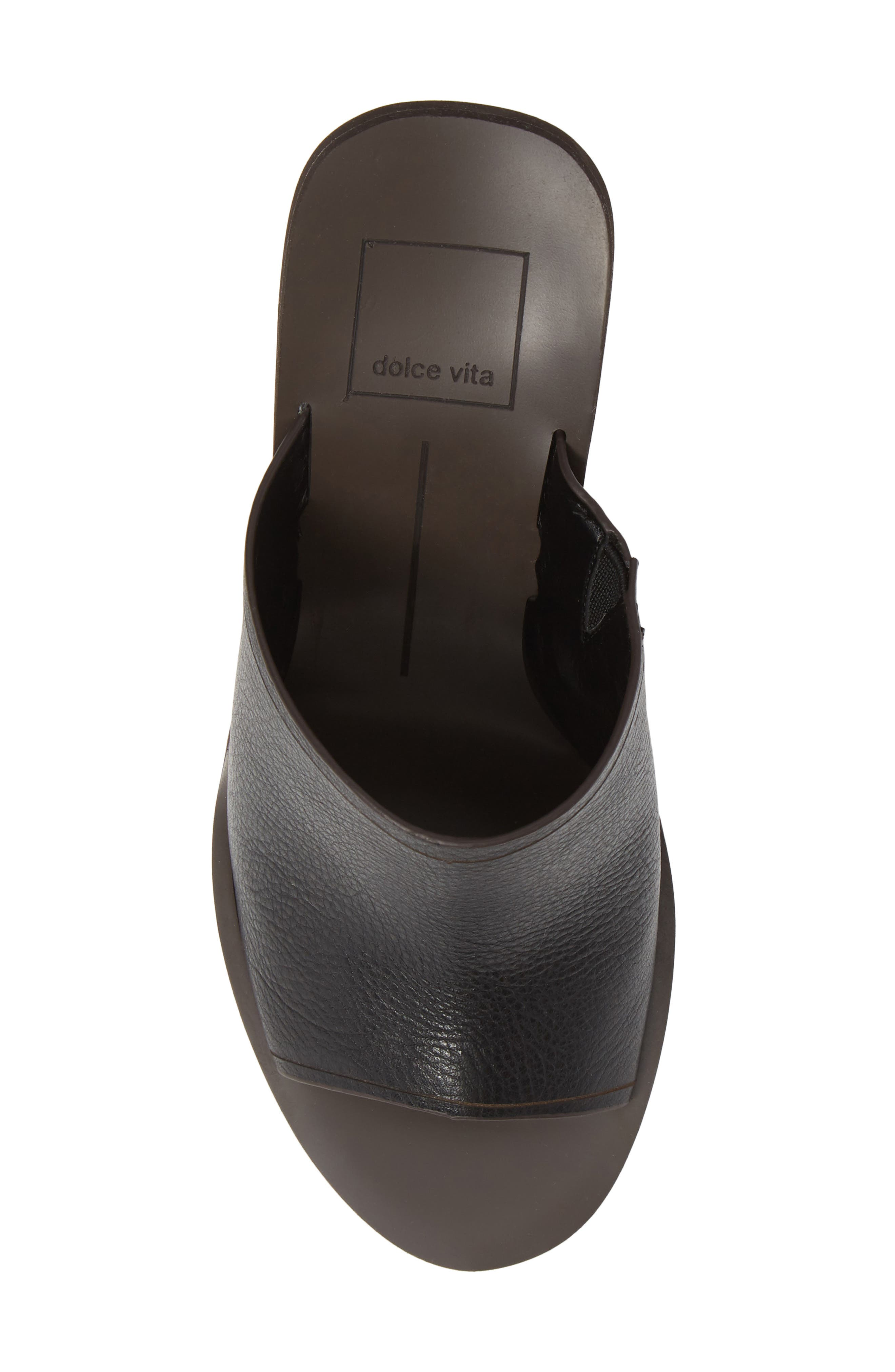 DOLCE VITA, Alba Braided Heel Mule Sandal, Alternate thumbnail 5, color, BLACK LEATHER