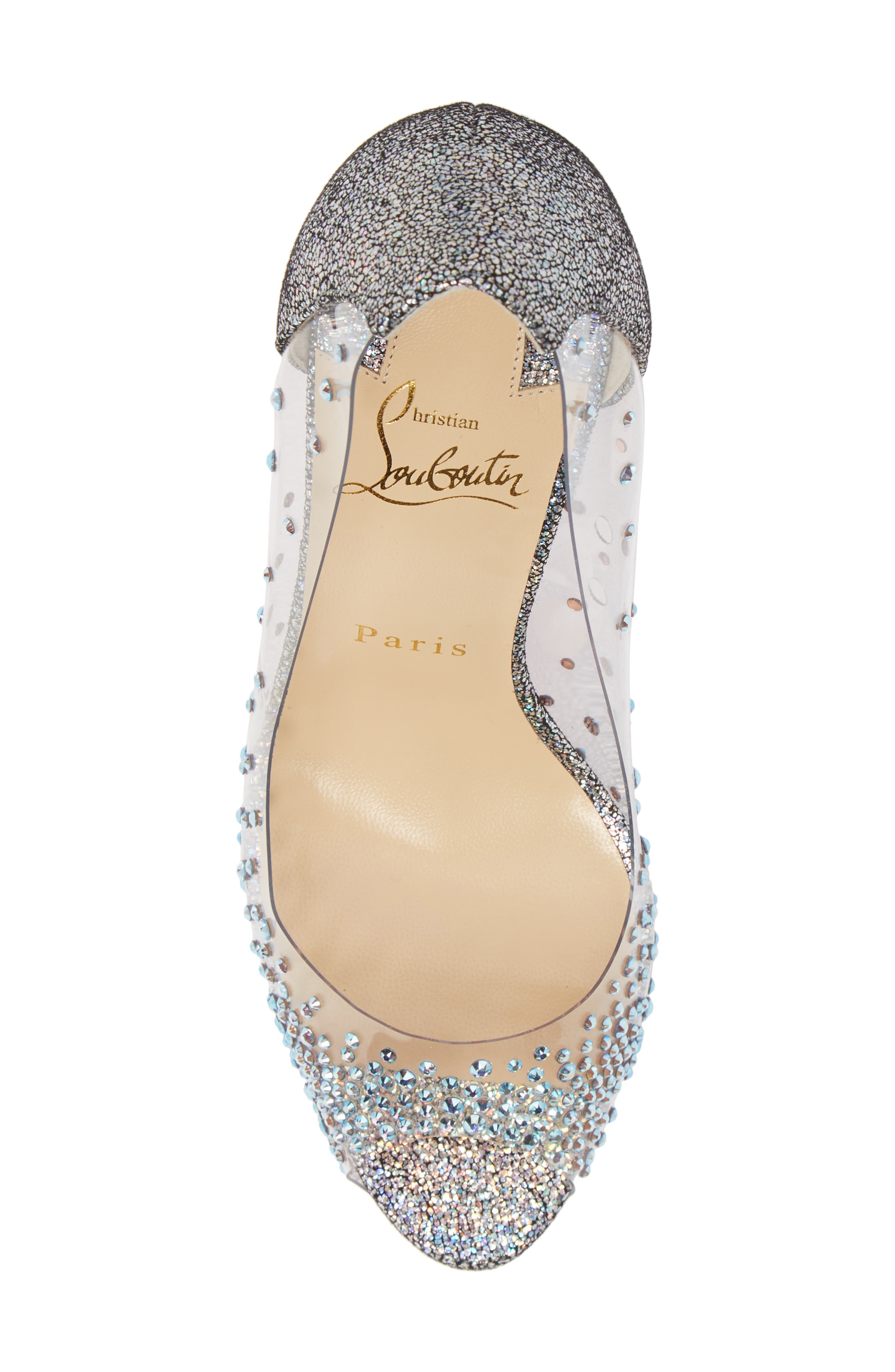 CHRISTIAN LOUBOUTIN, Very Strass Embellished Peep Toe Pump, Alternate thumbnail 5, color, SILVER
