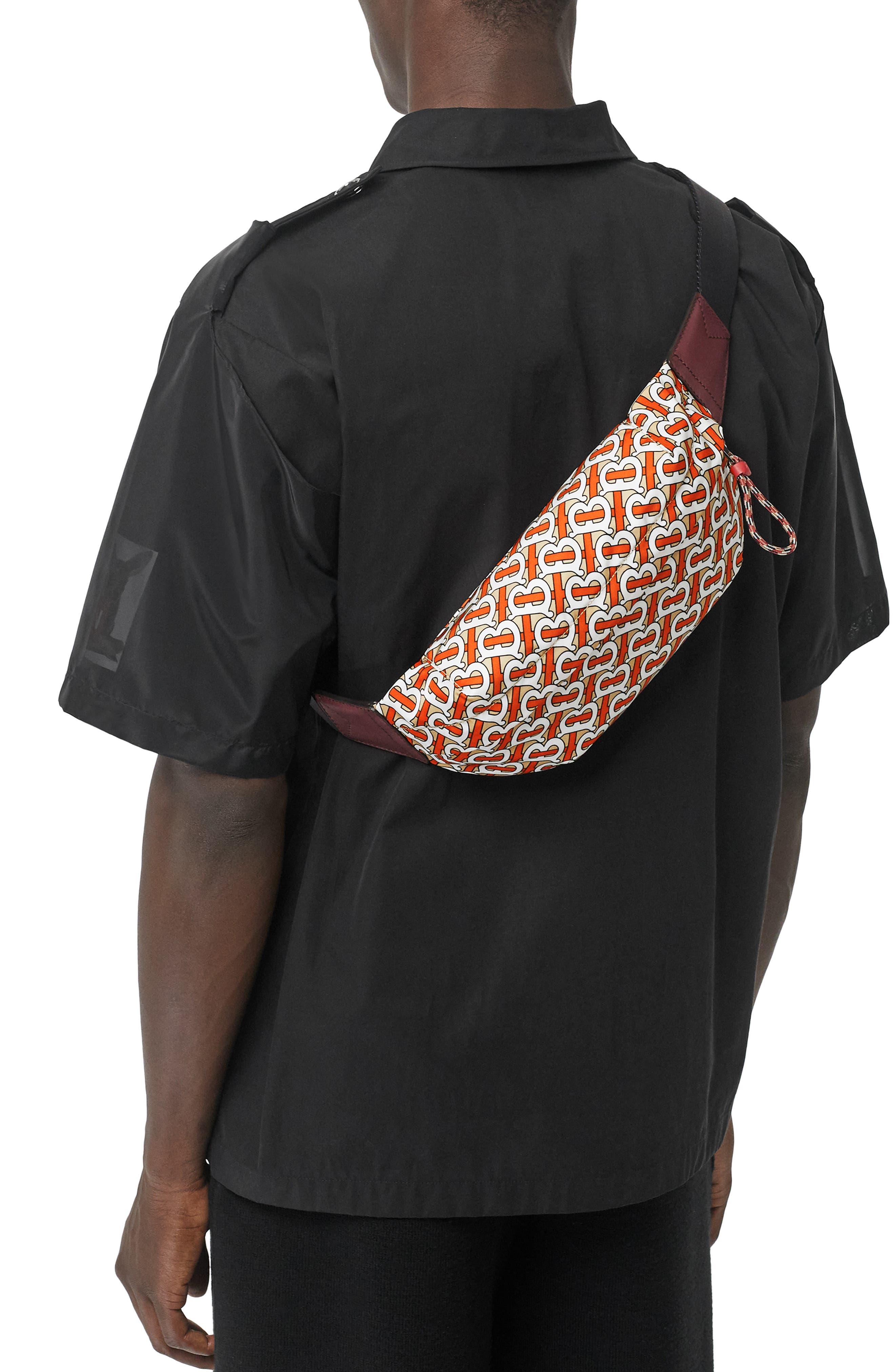 BURBERRY, Sonny Monogram Nylon Belt Bag, Alternate thumbnail 2, color, VERMILLION