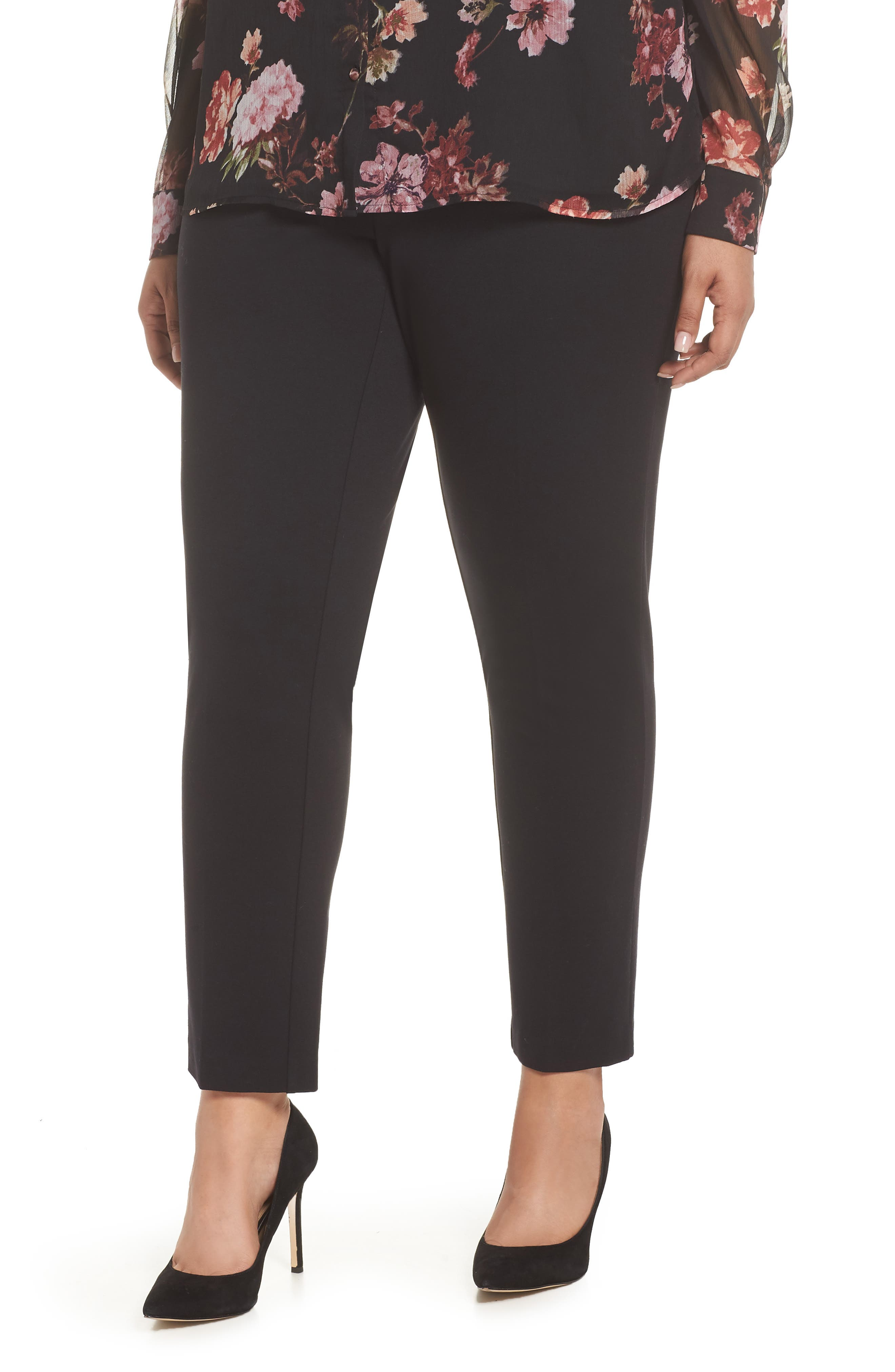 VINCE CAMUTO, High Rise Ankle Skinny Ponte Pants, Main thumbnail 1, color, RICH BLACK
