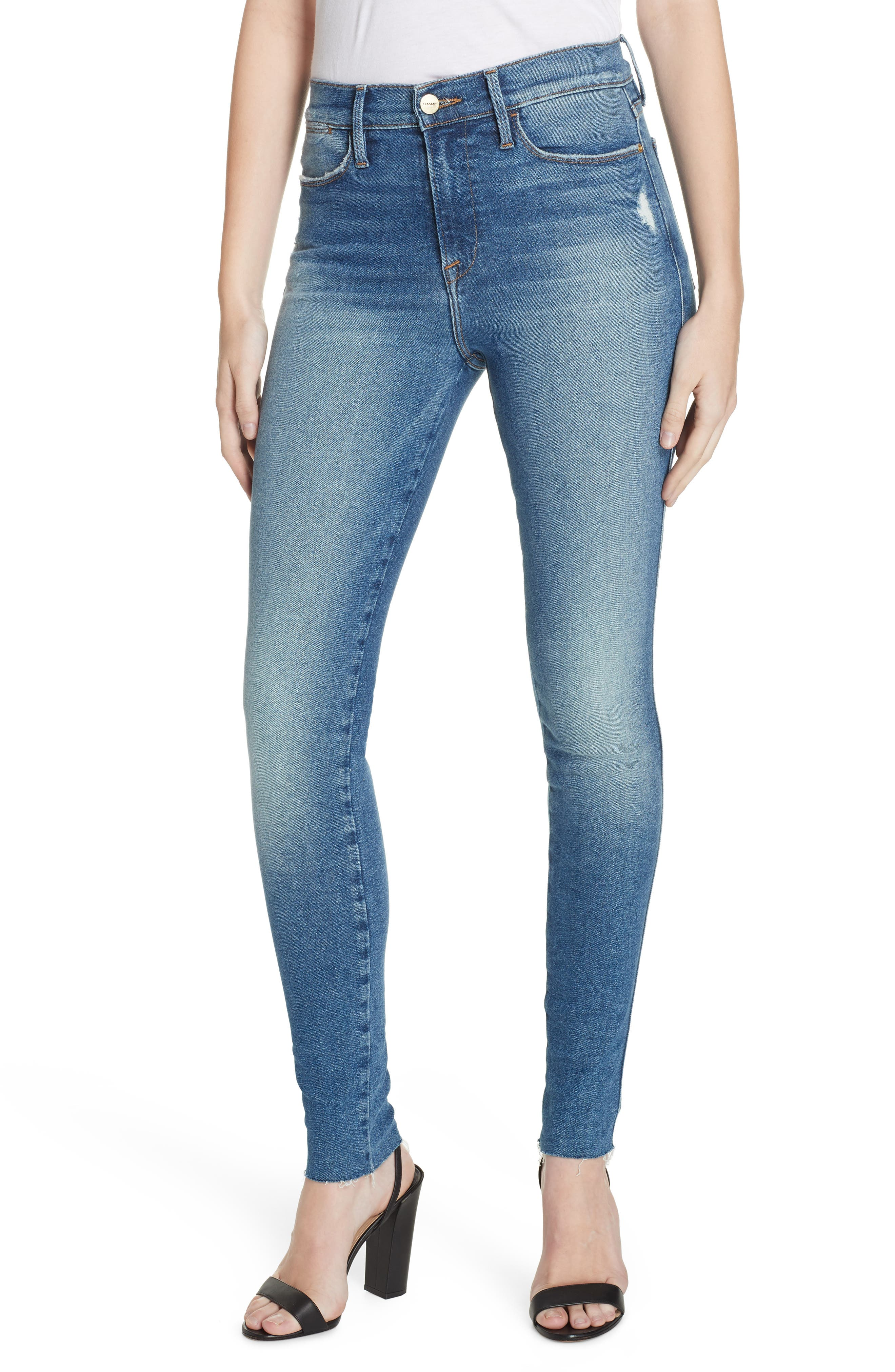 FRAME, Le Skinny de Jeanne High Waist Raw Hem Jeans, Main thumbnail 1, color, MCGRATH