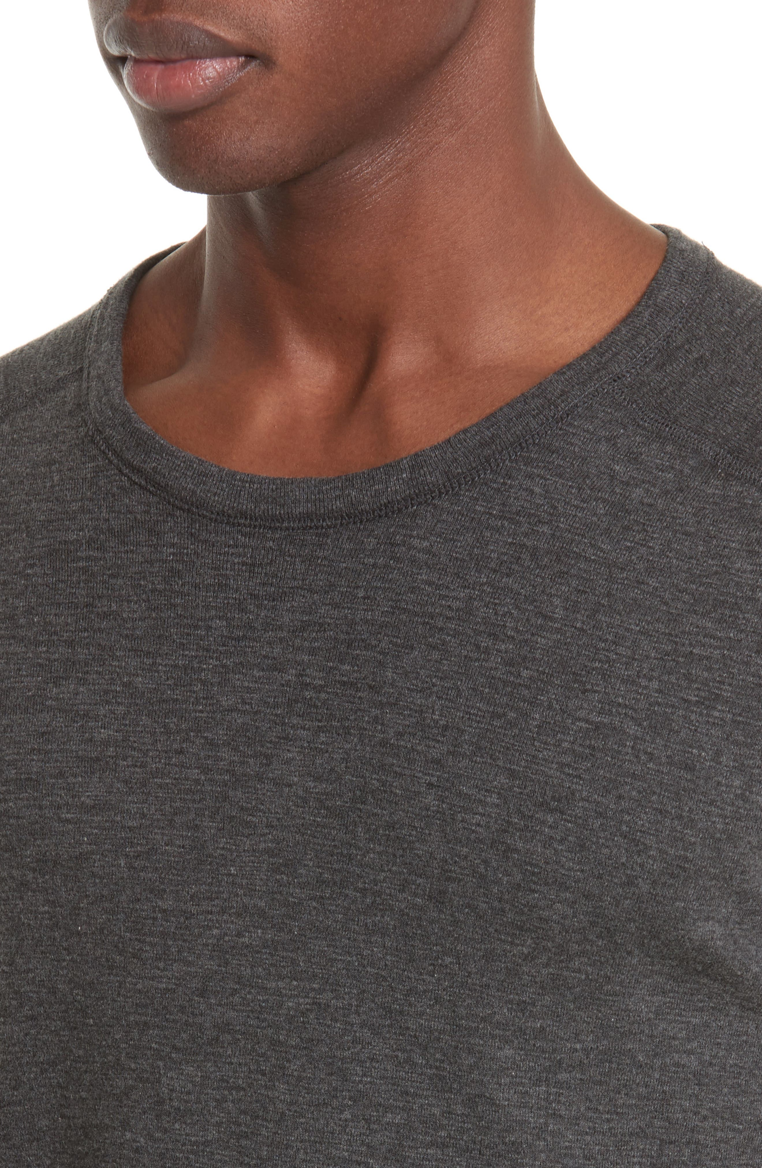 WINGS + HORNS, Ribbed Slub Cotton T-Shirt, Alternate thumbnail 4, color, HEATHER CHARCOAL