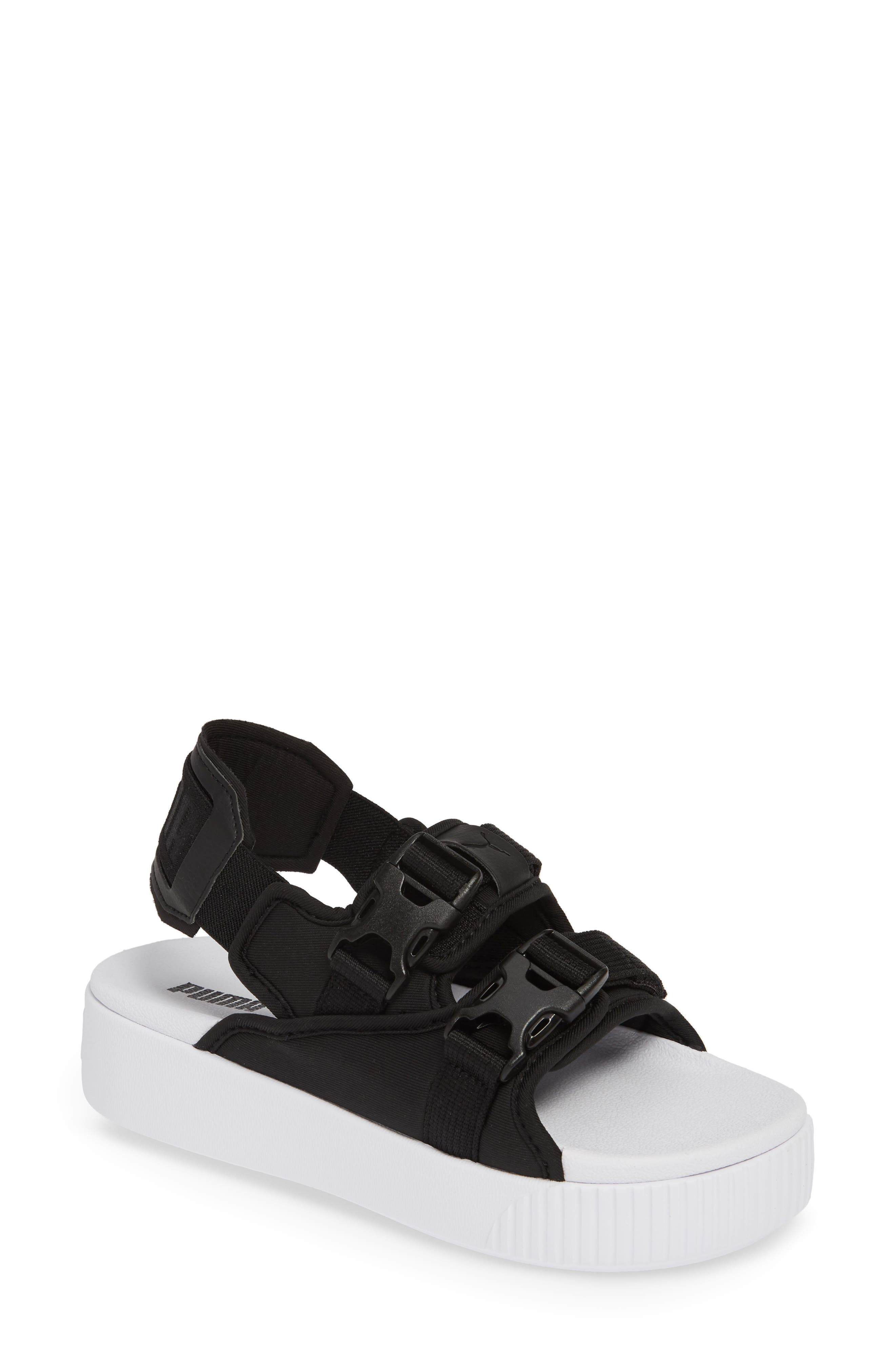PUMA, Platform Slide YLM 19 Sandal, Main thumbnail 1, color, BLACK/ WHITE