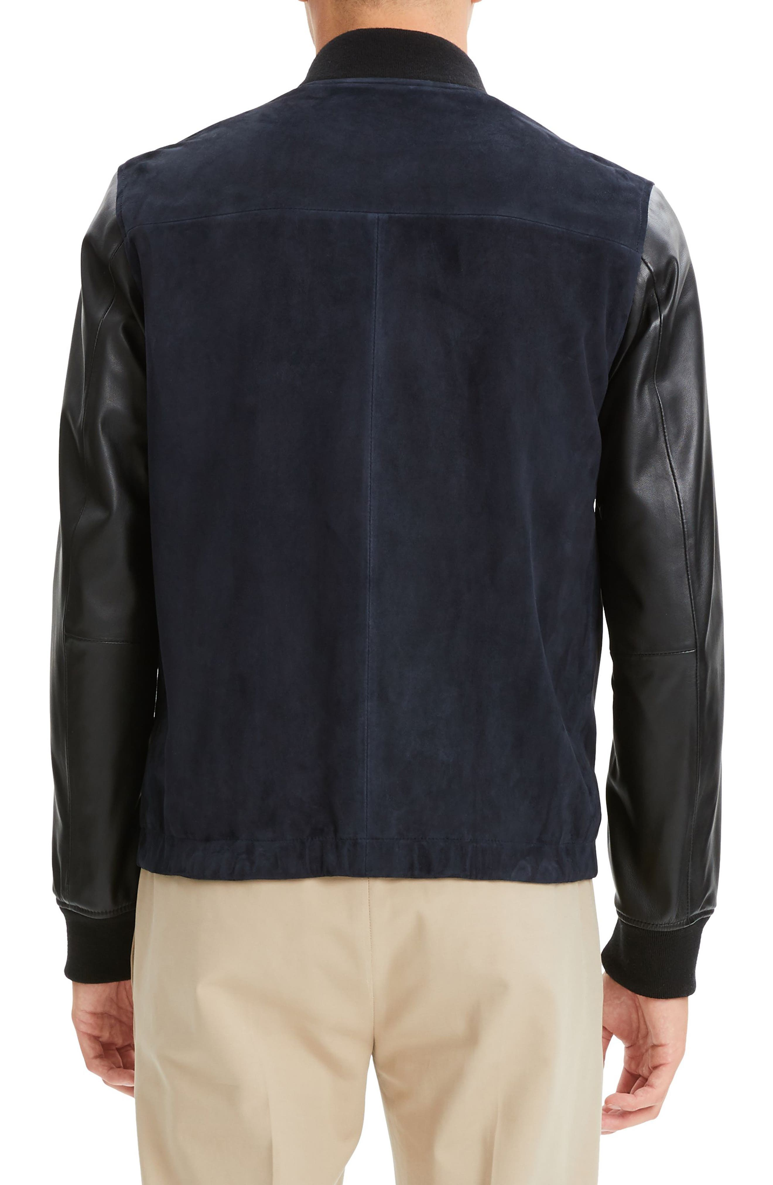 THEORY, Amir Regular Fit Suede & Leather Bomber Jacket, Alternate thumbnail 2, color, ECLIPSE/ BLACK