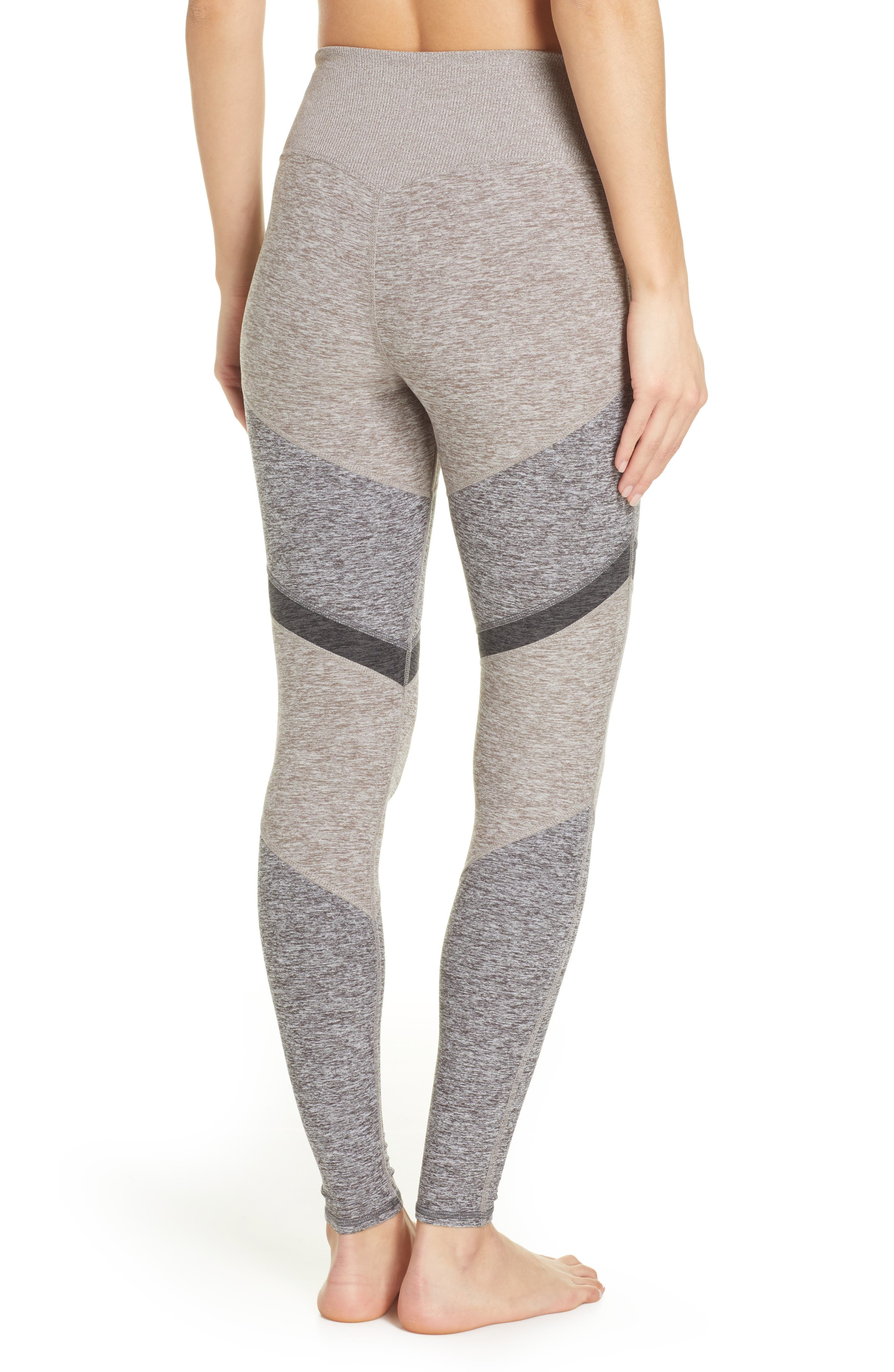 ALO, Sheila Alosoft High Waist Leggings, Alternate thumbnail 2, color, GRAVEL HEATHER/ DOVE GREY
