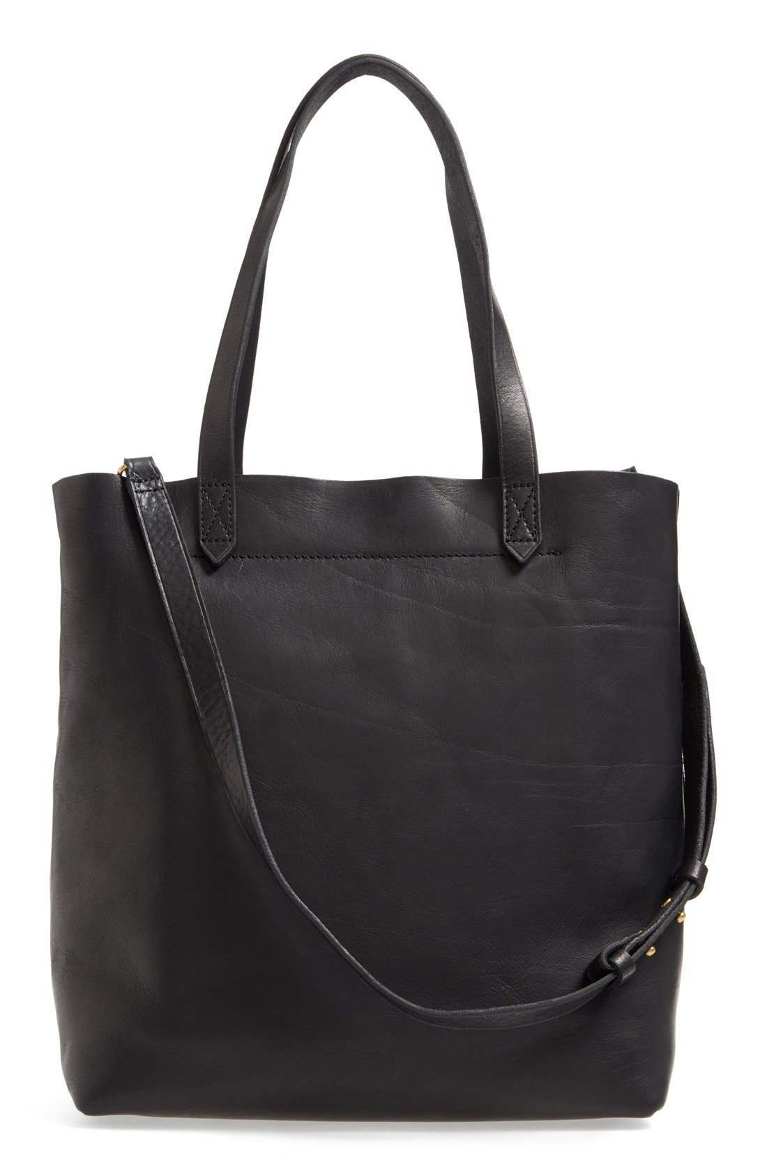 MADEWELL, Medium Leather Transport Tote, Alternate thumbnail 9, color, TRUE BLACK