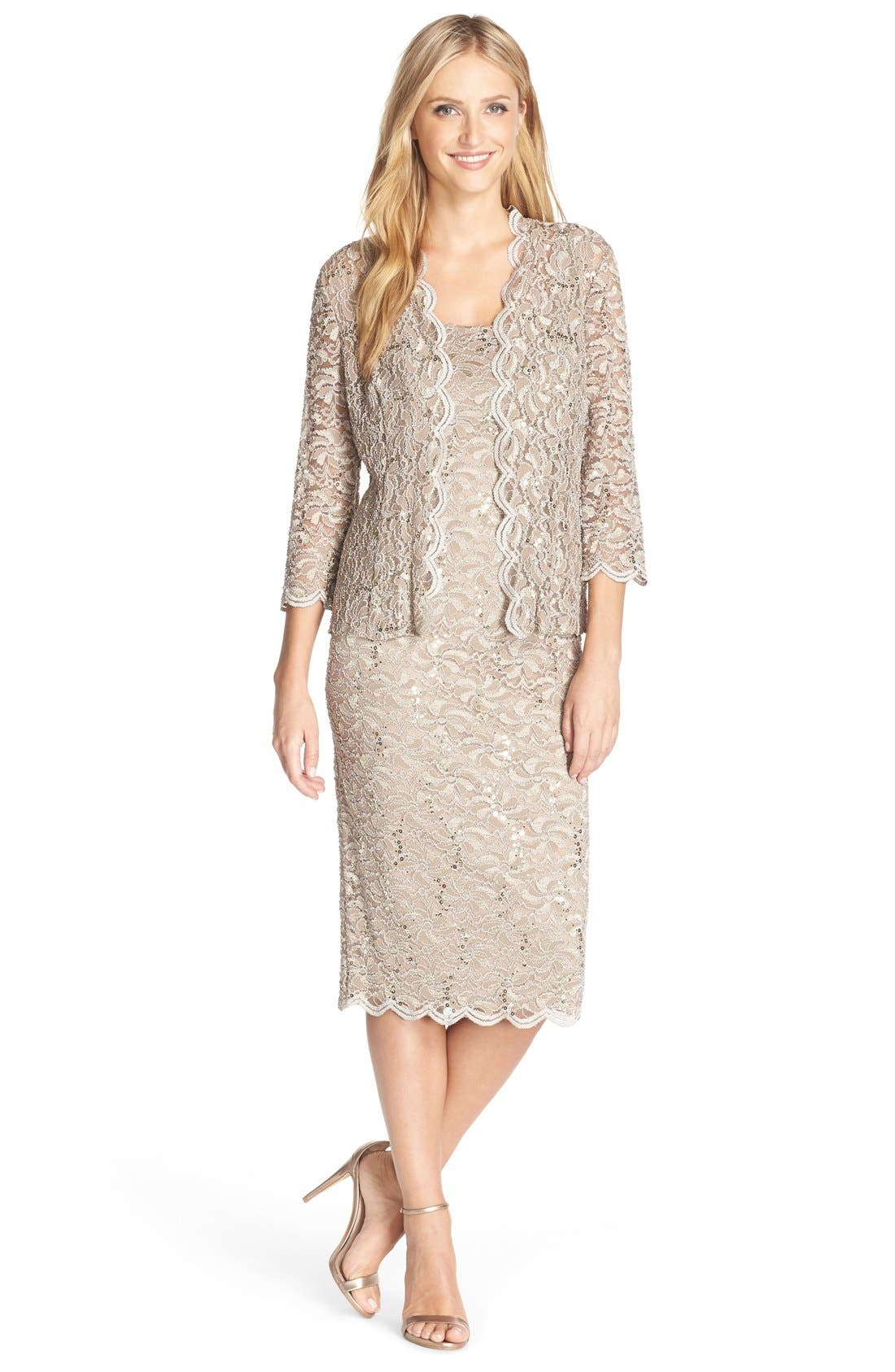 ALEX EVENINGS Lace Dress & Jacket, Main, color, CHAMPAGNE