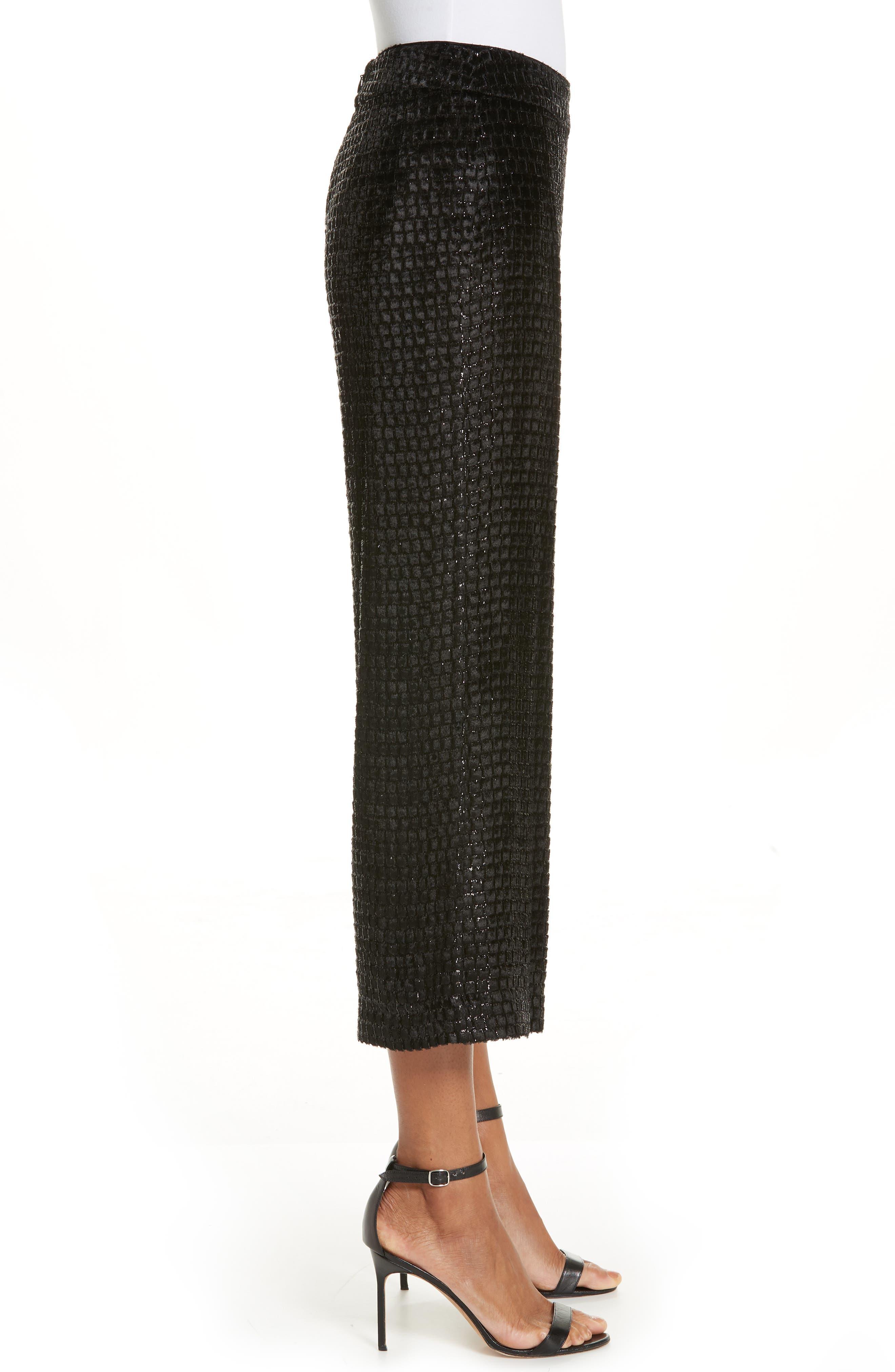 BRANDON MAXWELL, Metallic Velvet Crop Wide Leg Pants, Alternate thumbnail 3, color, BLACK