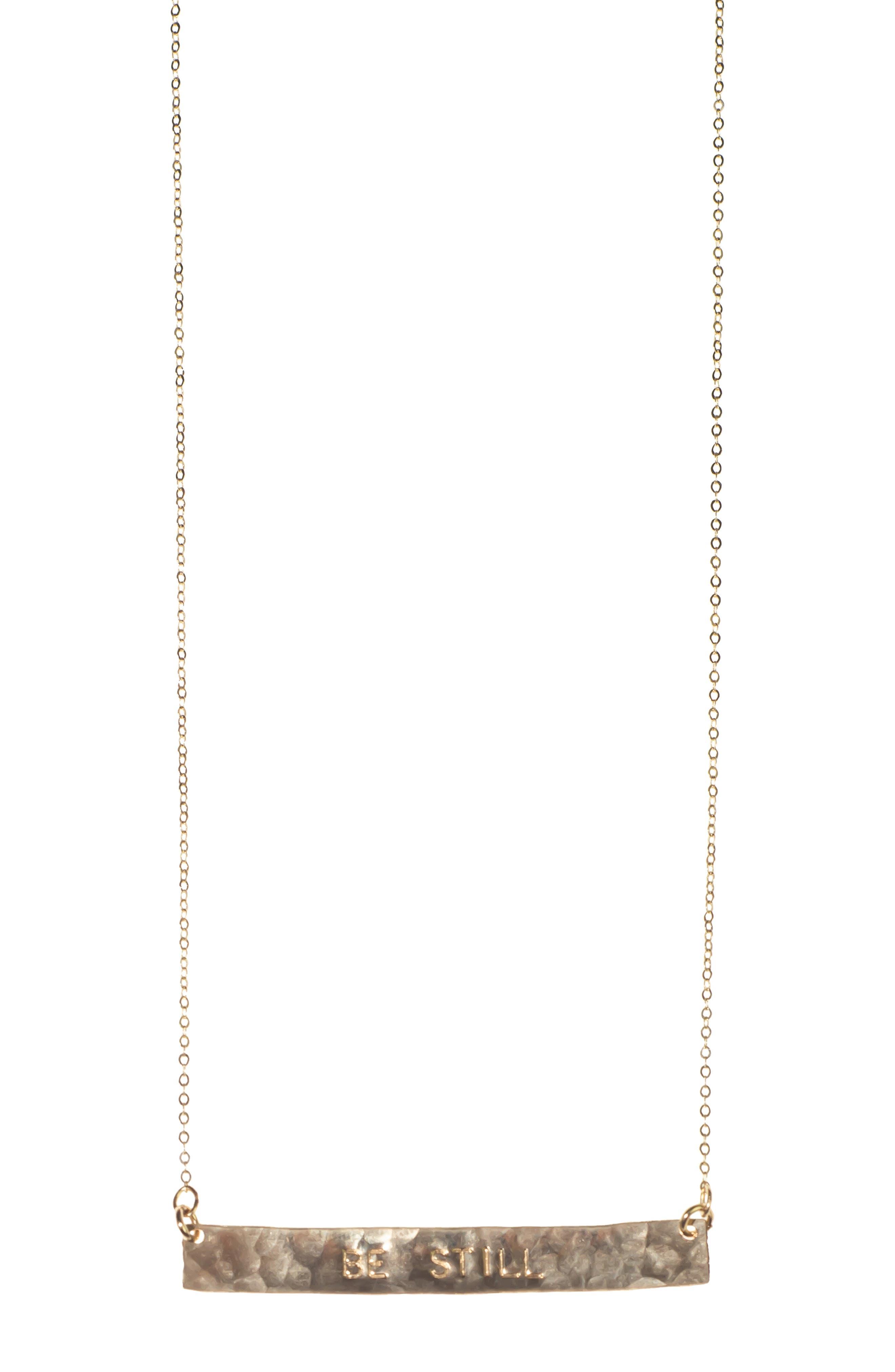 NASHELLE, 14K Gold Fill Bar Pendant Necklace, Main thumbnail 1, color, GOLD- BE STILL