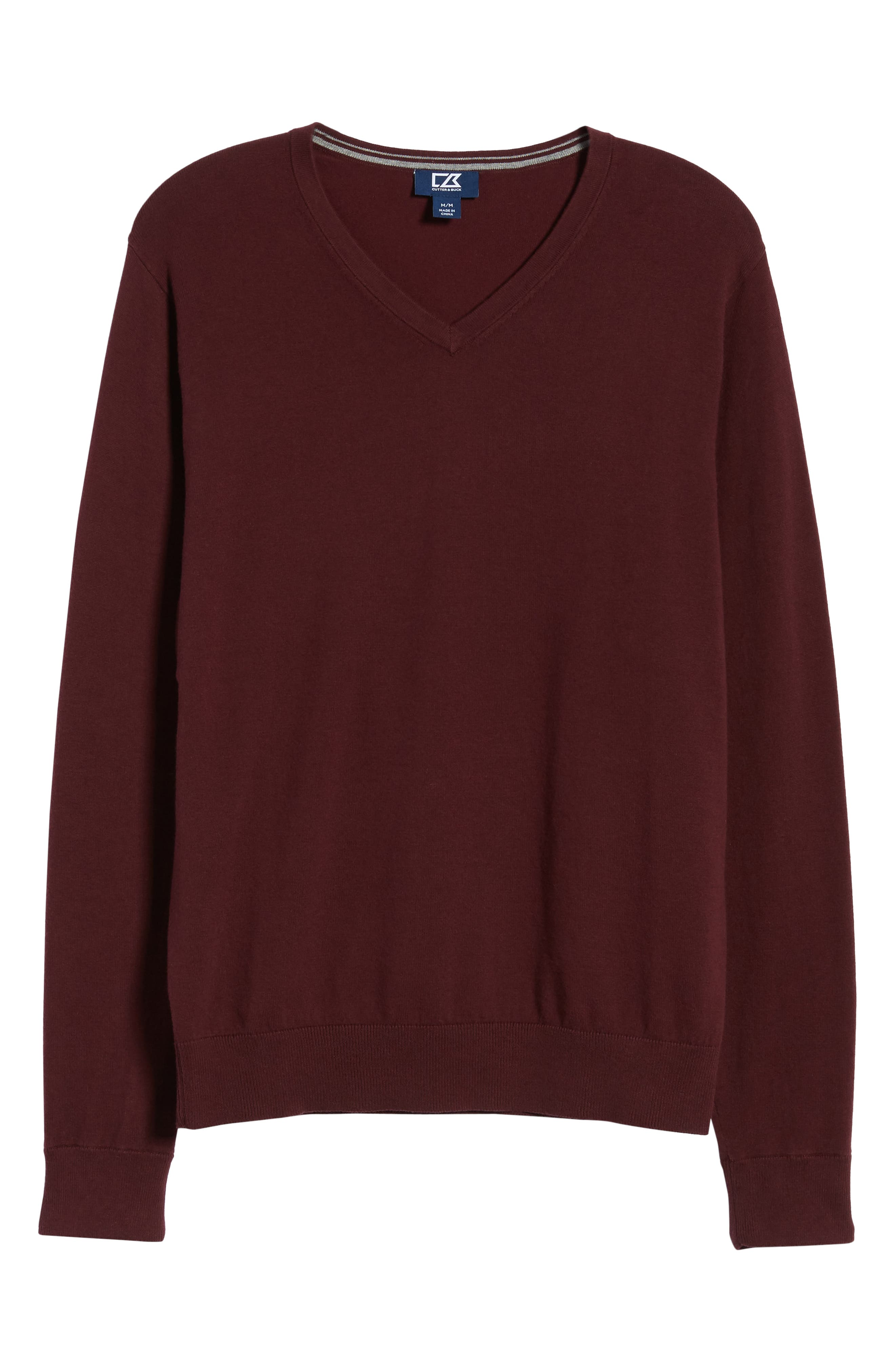 CUTTER & BUCK, Lakemont V-Neck Sweater, Alternate thumbnail 6, color, BORDEAUX