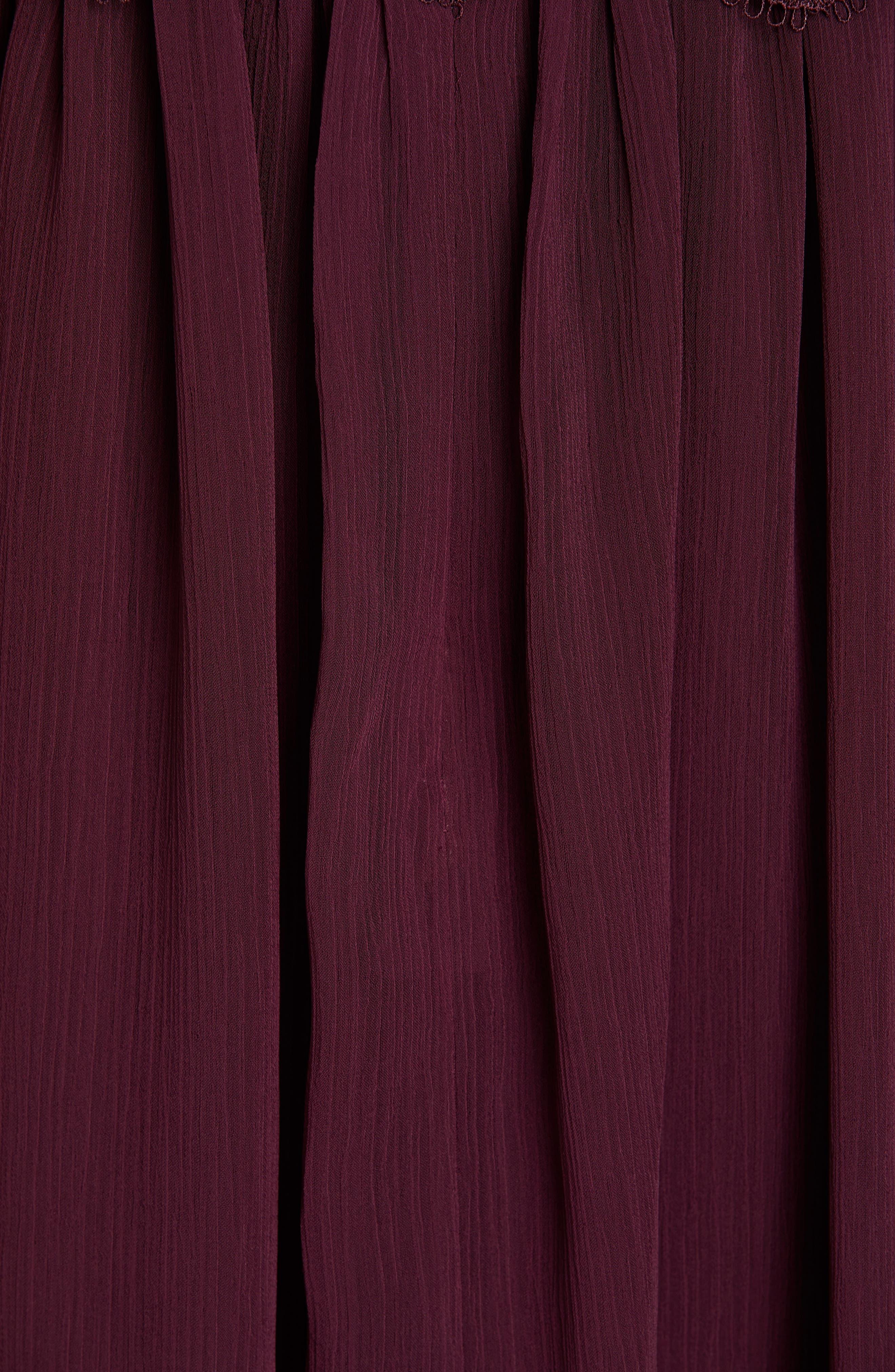 TED BAKER LONDON, Porrla Midi Dress, Alternate thumbnail 5, color, DEEP PURPLE