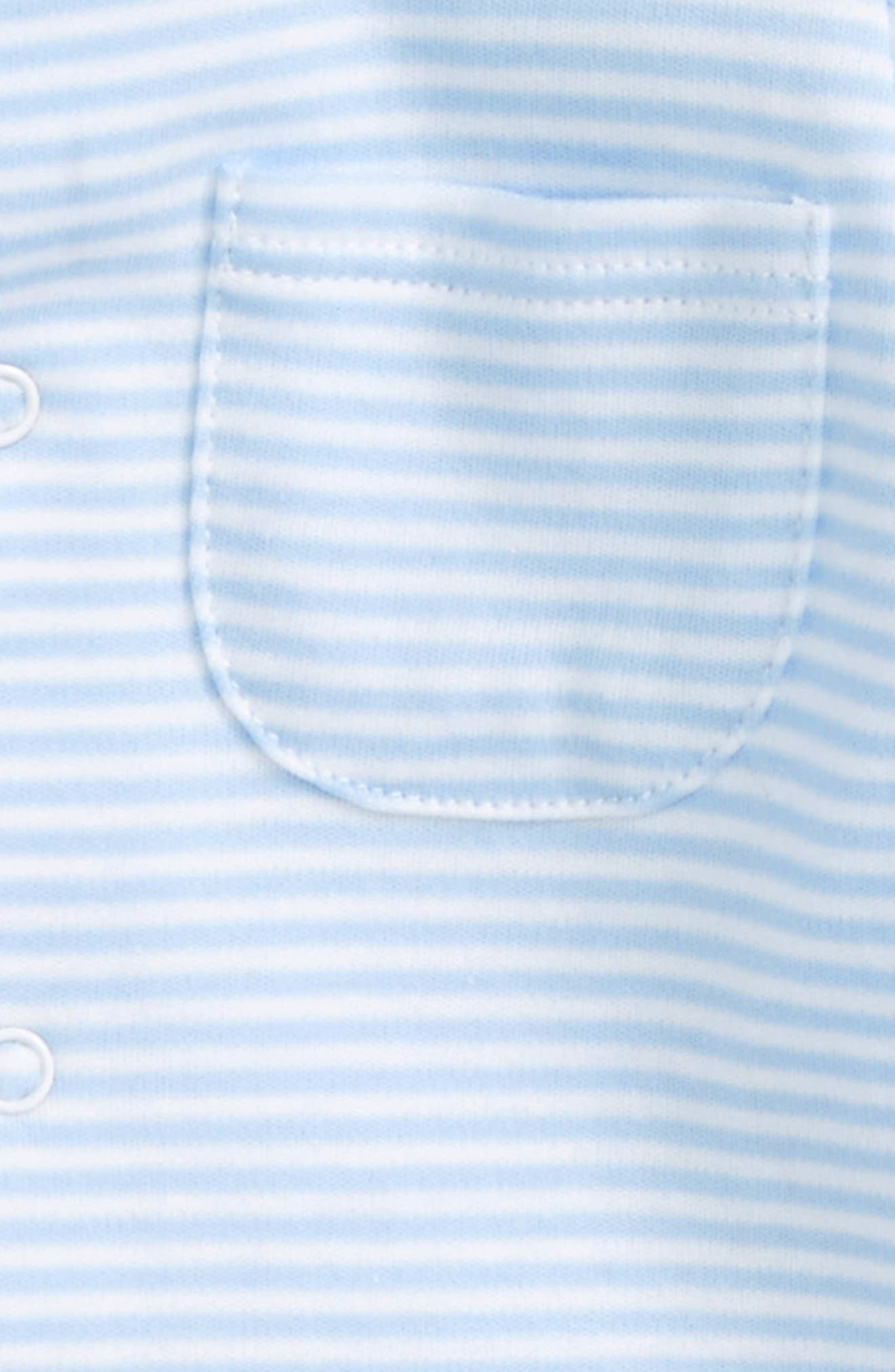 KISSY KISSY, Stripe Pima Cotton Footie, Alternate thumbnail 2, color, LIGHT BLUE