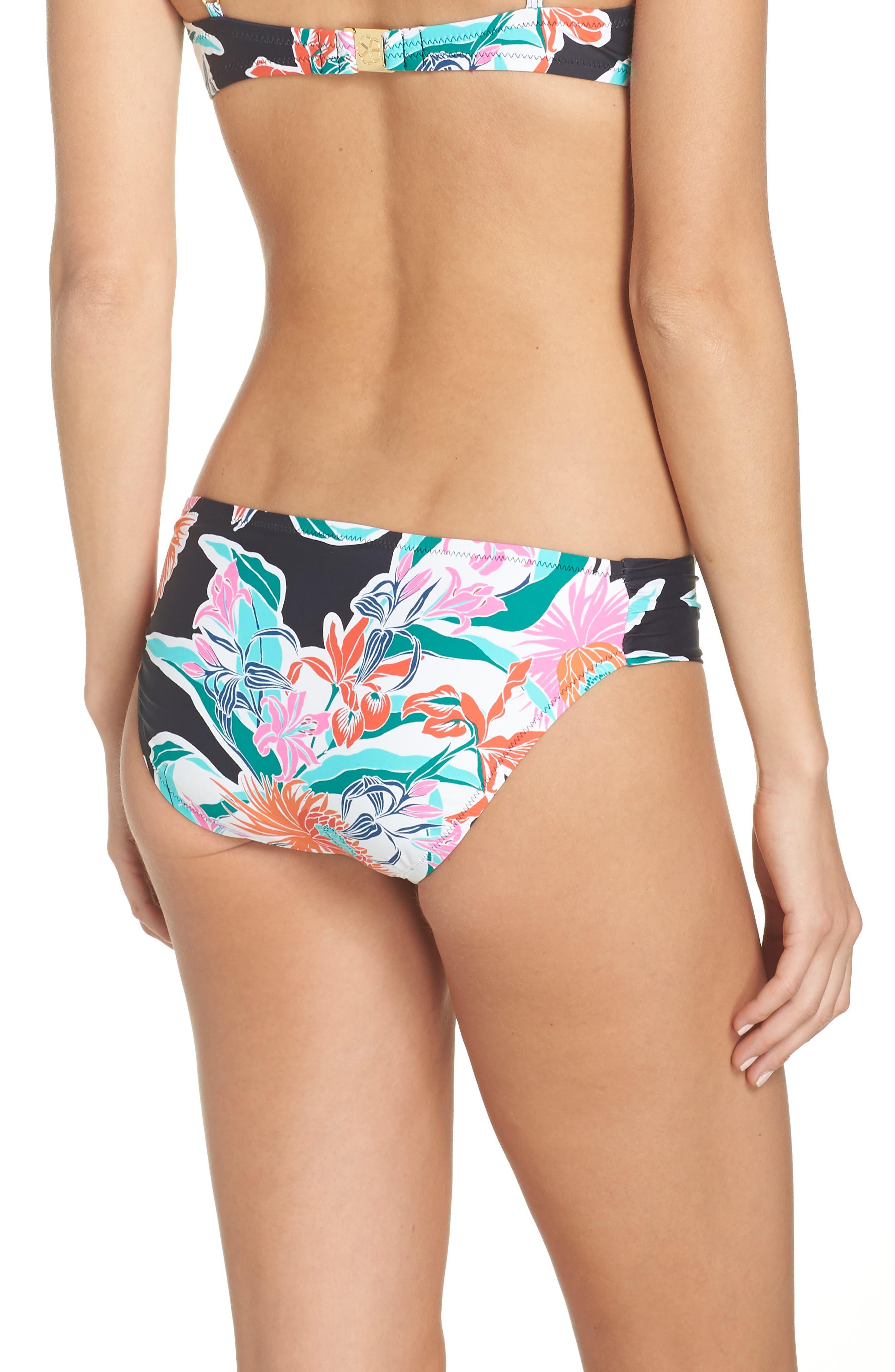 TRINA TURK, Shirred Floral Bikini Bottoms, Alternate thumbnail 2, color, BLACK MULTI