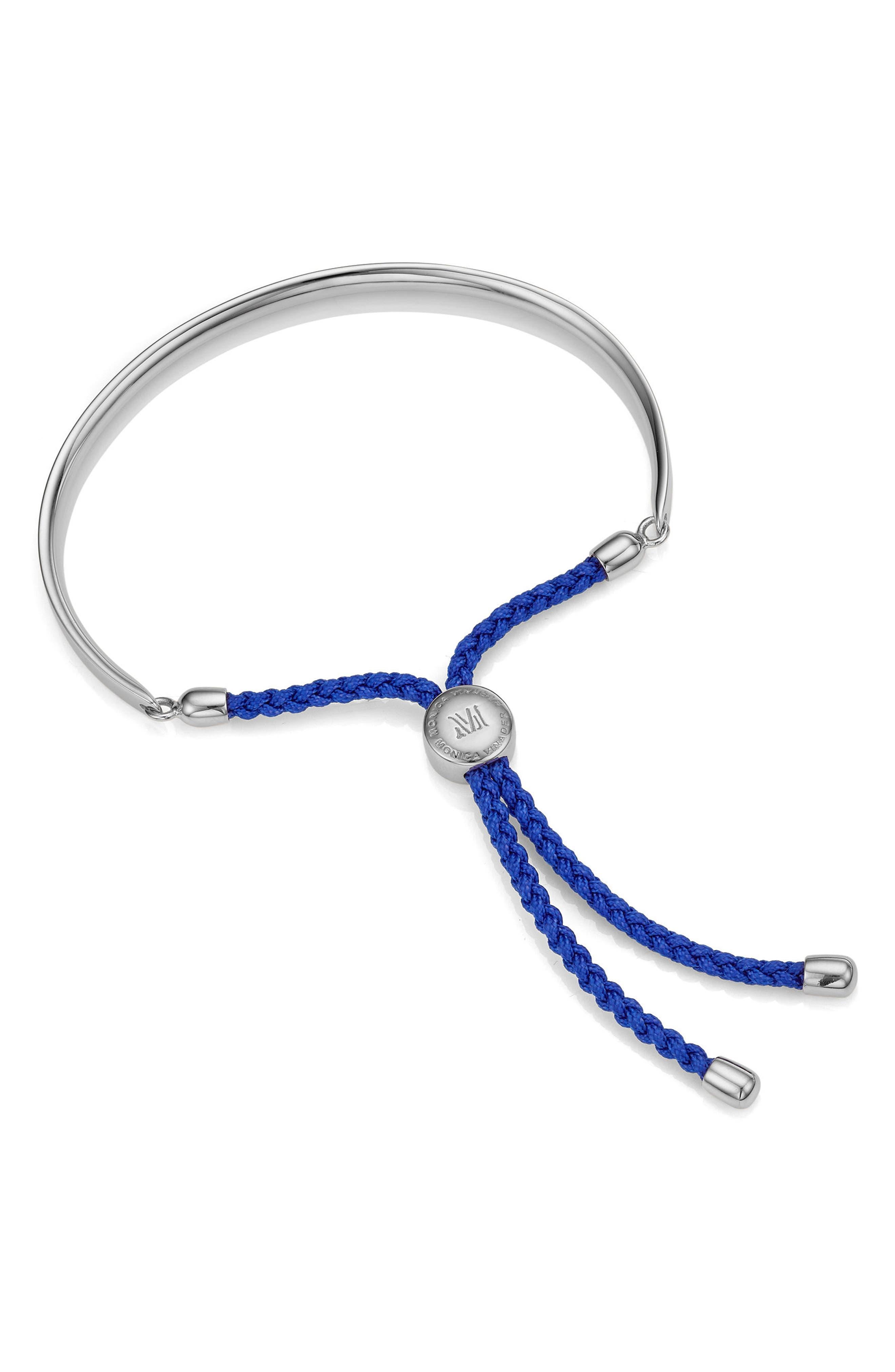 MONICA VINADER, Engravable Petite Fiji Friendship Bracelet, Main thumbnail 1, color, SILVER/ MAJORELLE BLUE