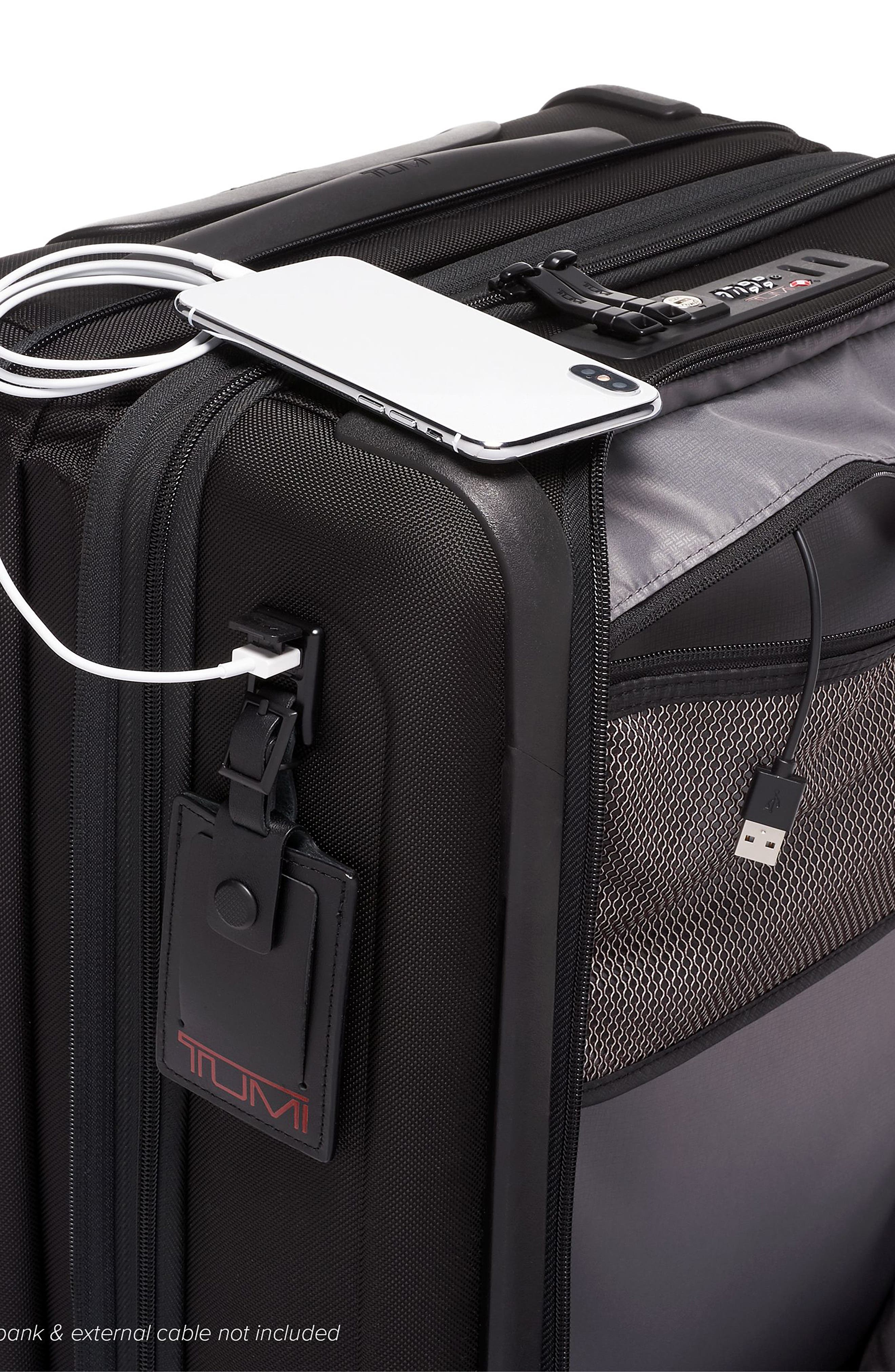TUMI, Alpha 3 Collection 22-Inch Wheeled Dual Access Continental Carry-On, Alternate thumbnail 5, color, BLACK