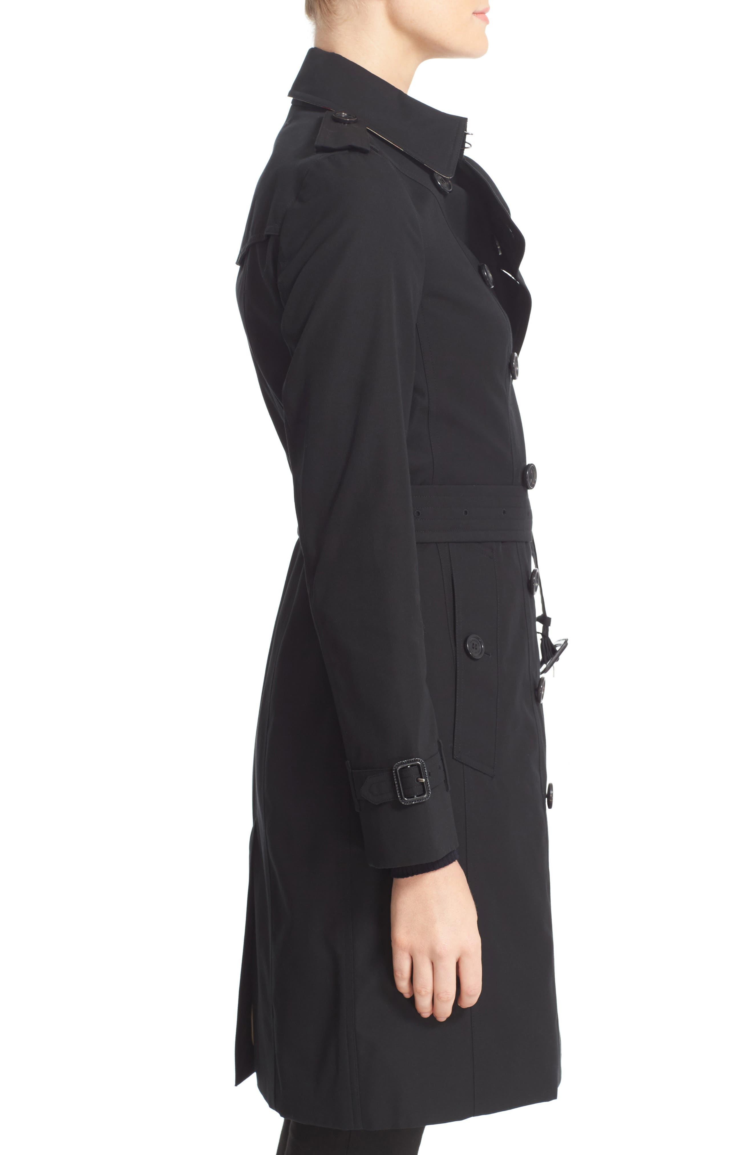 BURBERRY, Sandringham Long Slim Trench Coat, Alternate thumbnail 3, color, BLACK