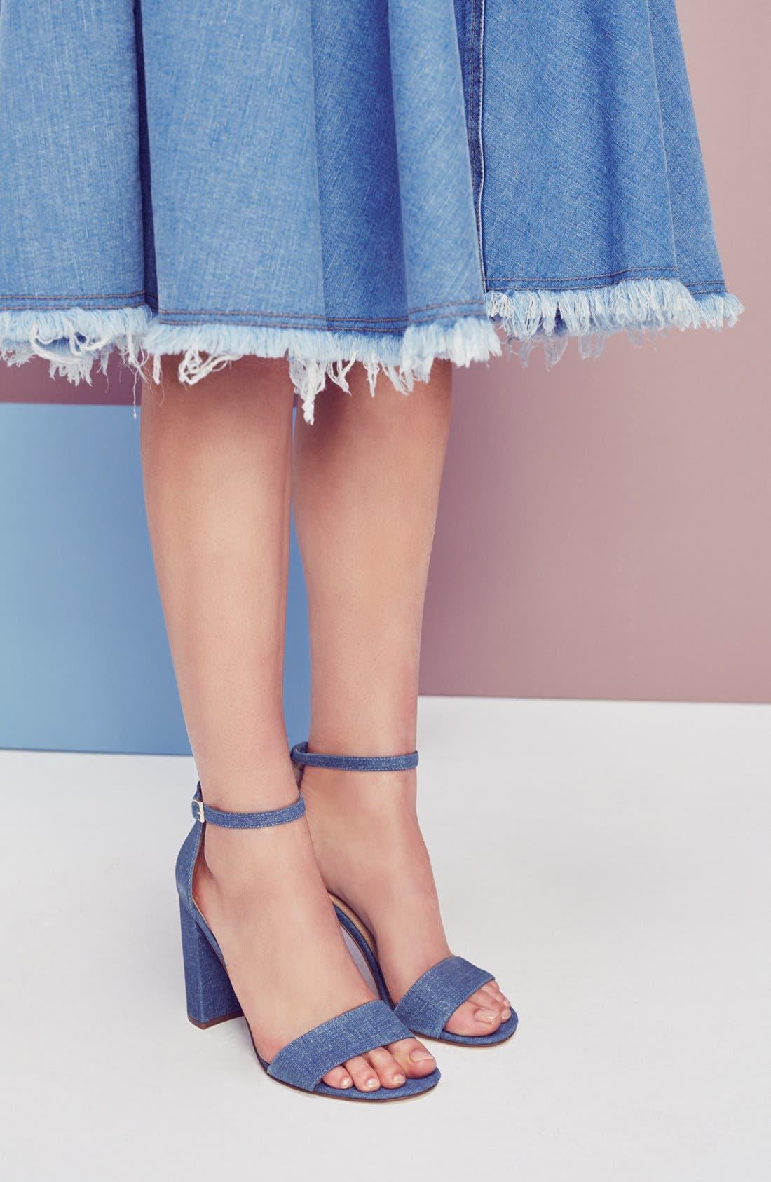 IVANKA TRUMP, 'Klover' Block Heel Ankle Strap Sandal, Alternate thumbnail 3, color, 009
