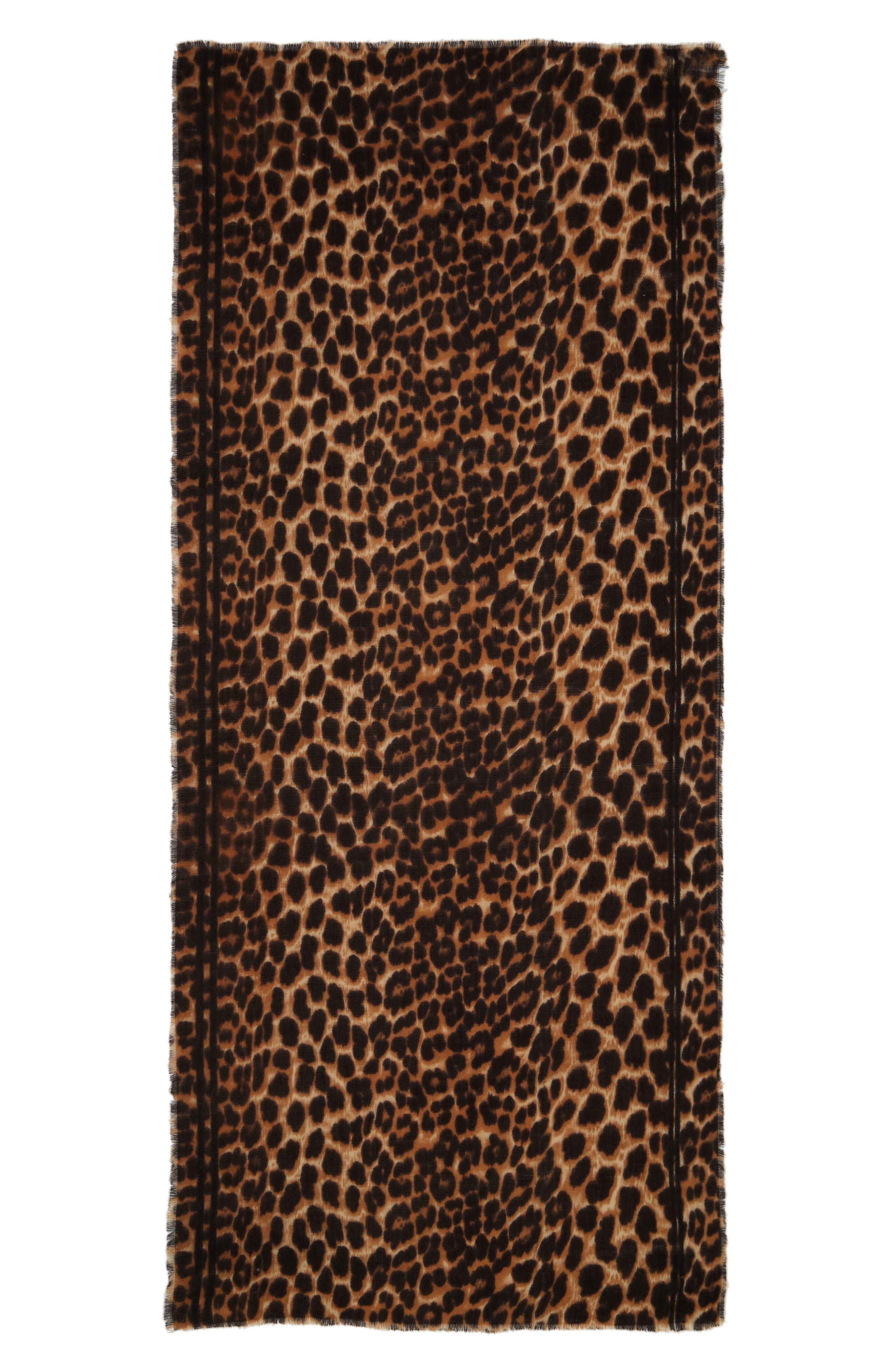SOLE SOCIETY, Leopard Print Blanket Scarf, Alternate thumbnail 2, color, BROWN COMBO