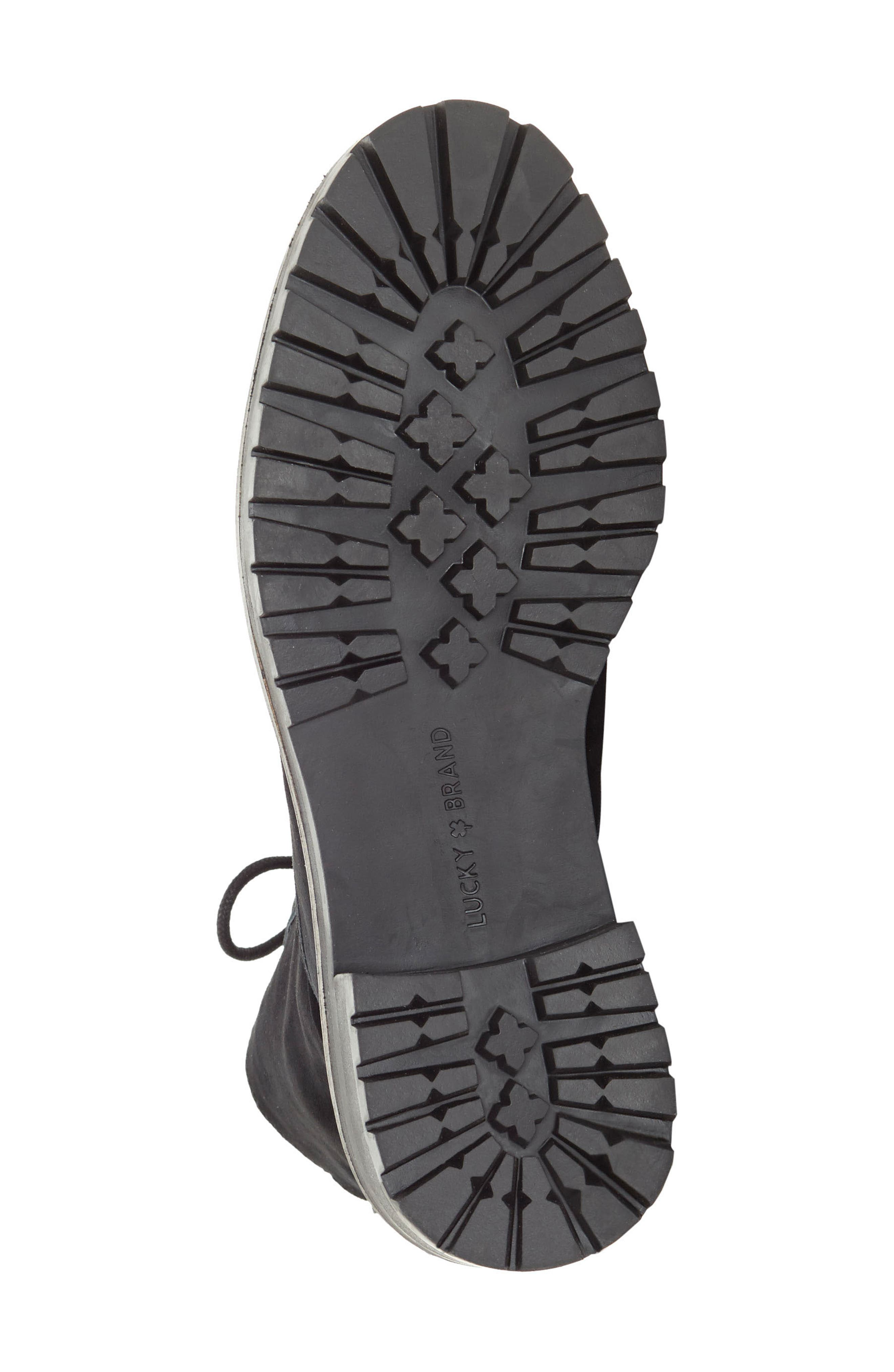 LUCKY BRAND, Idara Lace-Up Bootie, Alternate thumbnail 5, color, 001