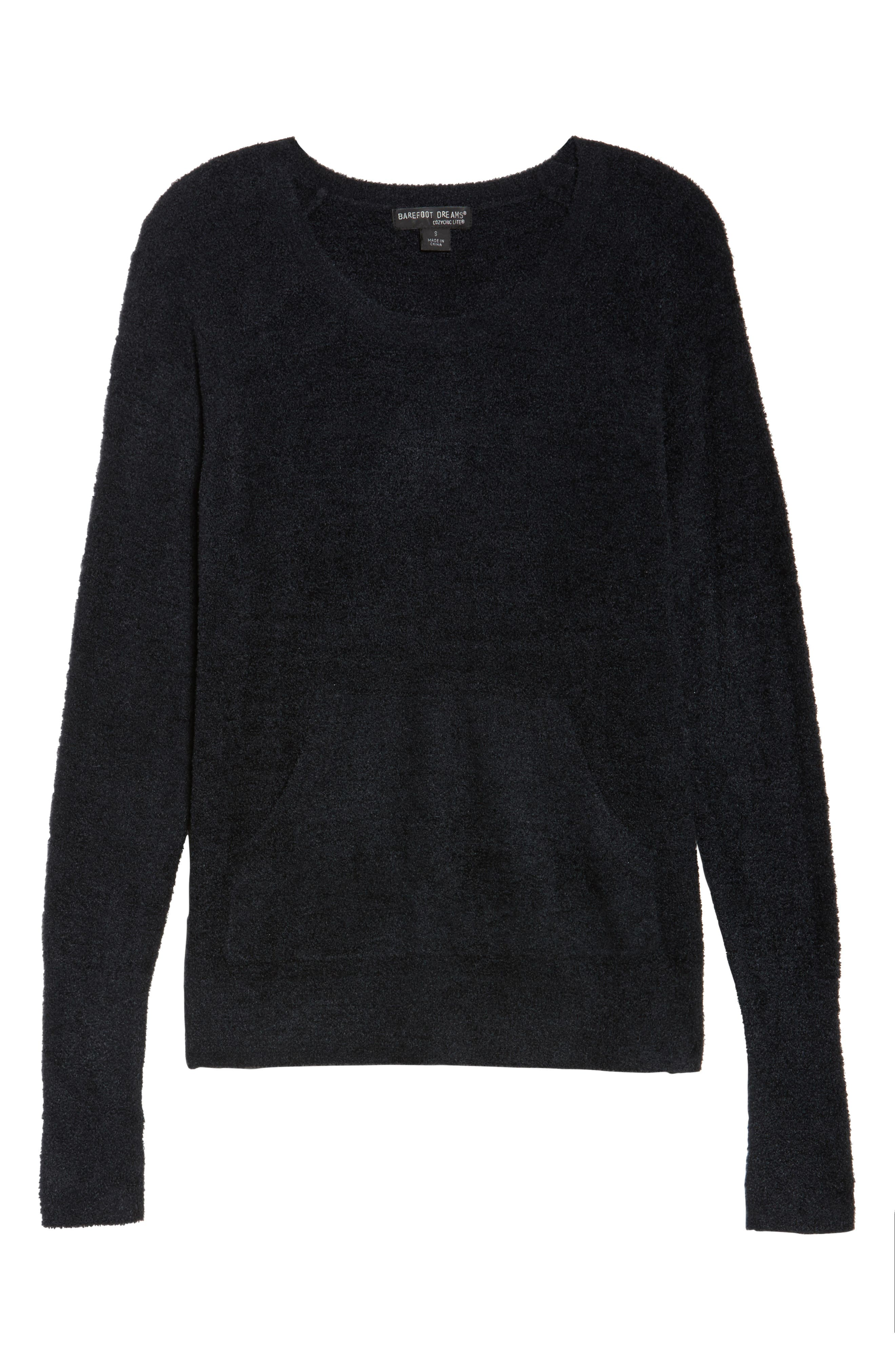 BAREFOOT DREAMS<SUP>®</SUP>, Cozychic Lite<sup>®</sup> Pullover, Alternate thumbnail 6, color, BLACK
