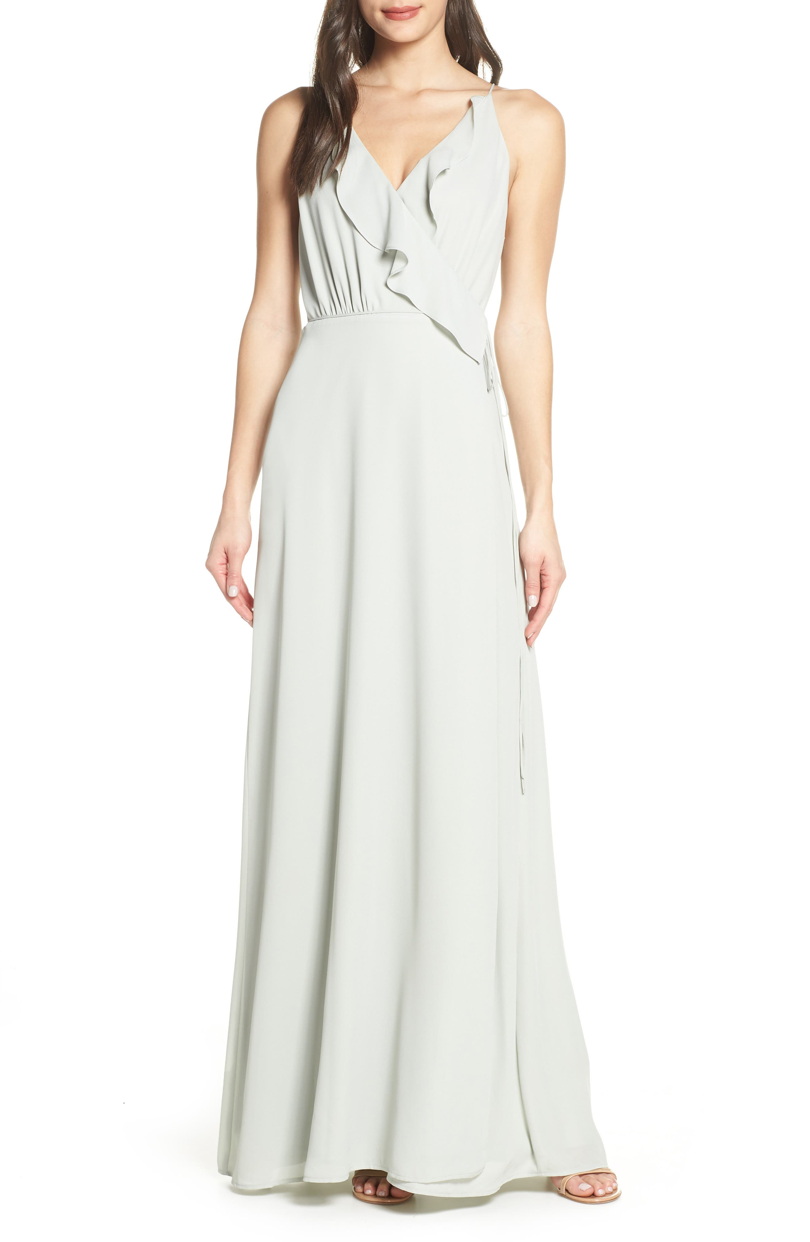 WAYF Jamie Ruffle Wrap Gown, Main, color, SAGE