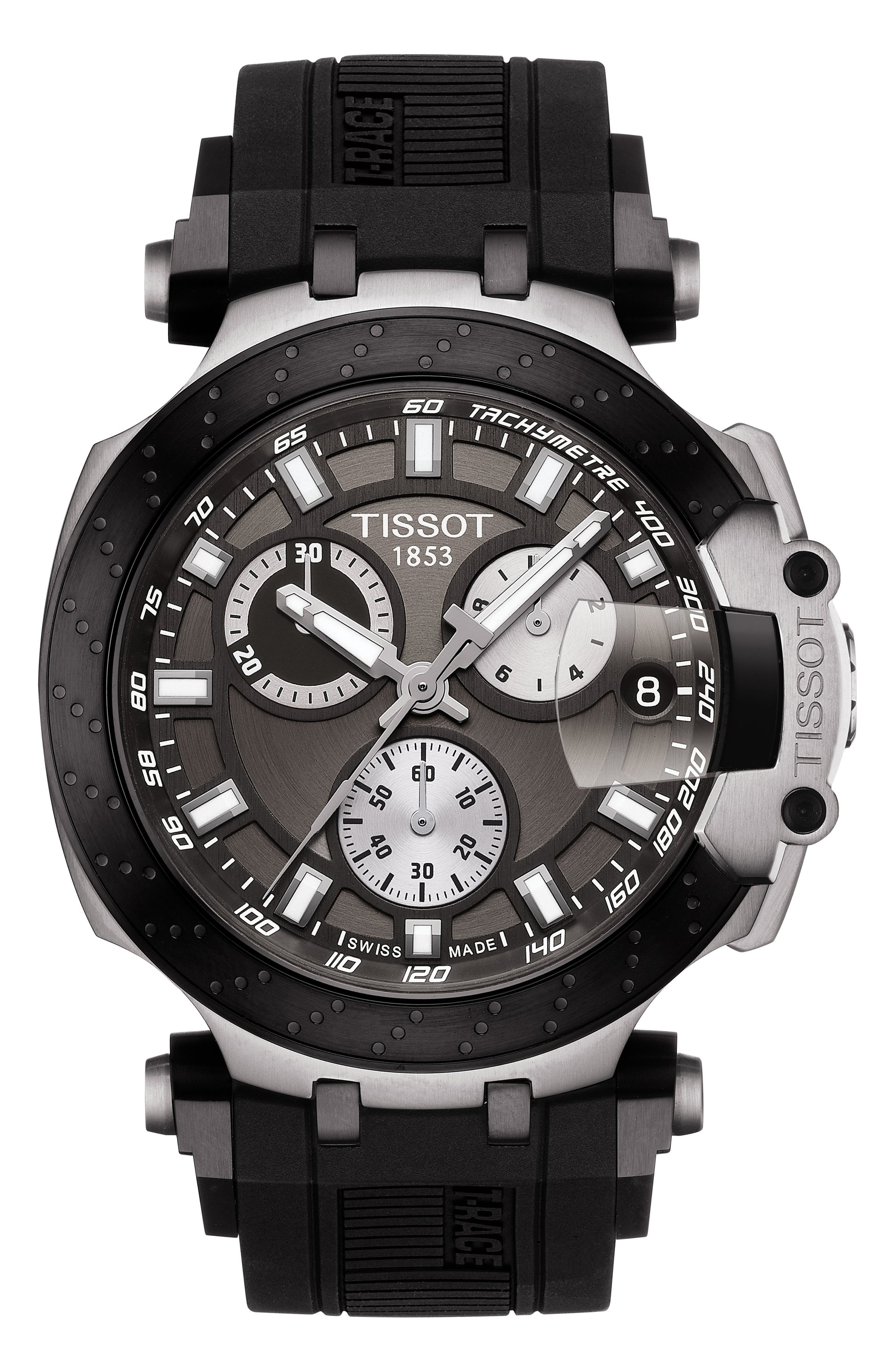 TISSOT, T-Race Chronograph Silicone Strap Watch, 48mm, Main thumbnail 1, color, BLACK/ ANTHRACITE/ SILVER