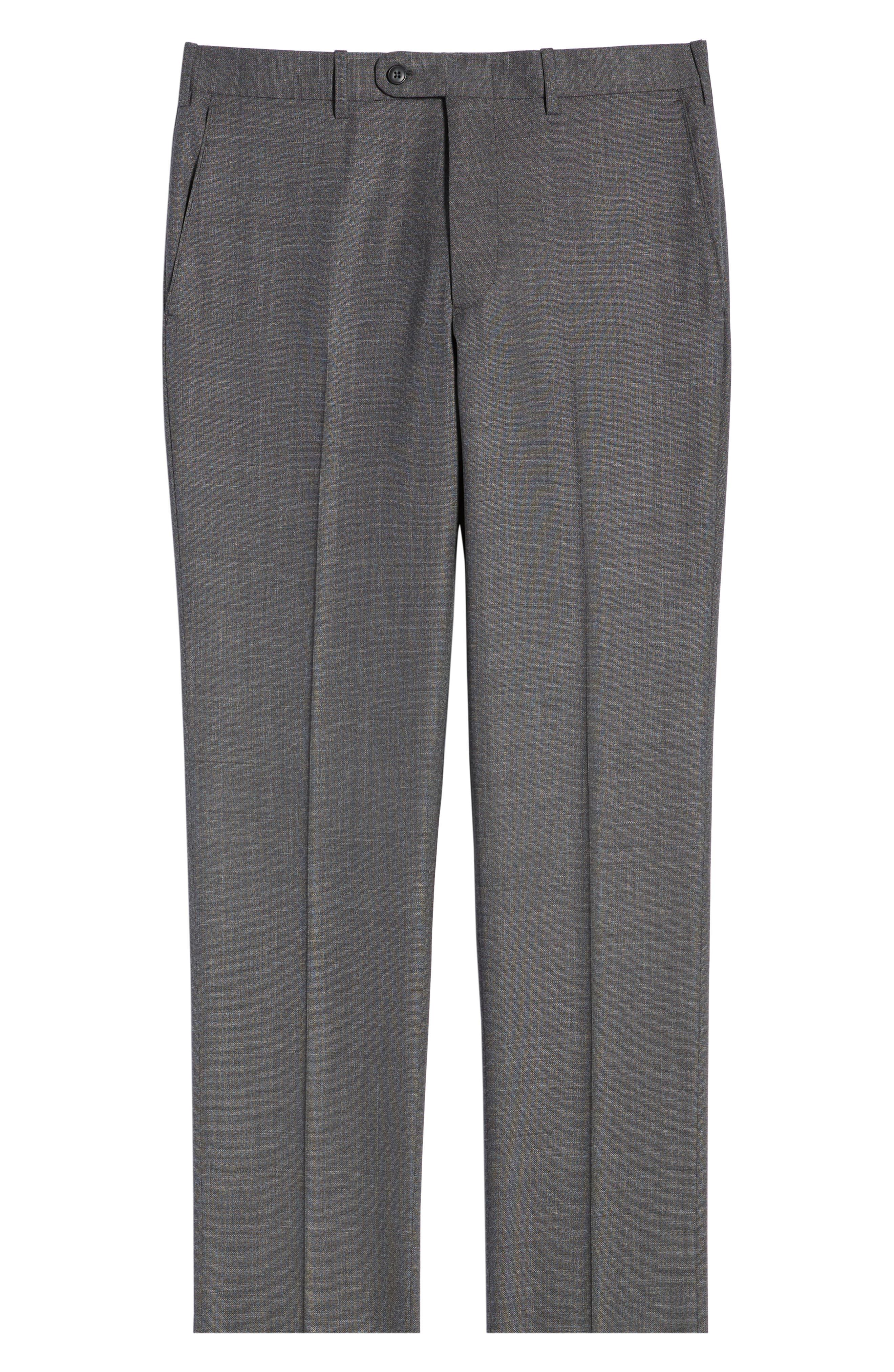 JOHN W. NORDSTROM<SUP>®</SUP>, Torino Flat Front Solid Wool Trousers, Alternate thumbnail 6, color, GREY PHANTOM BASKET WEAVE