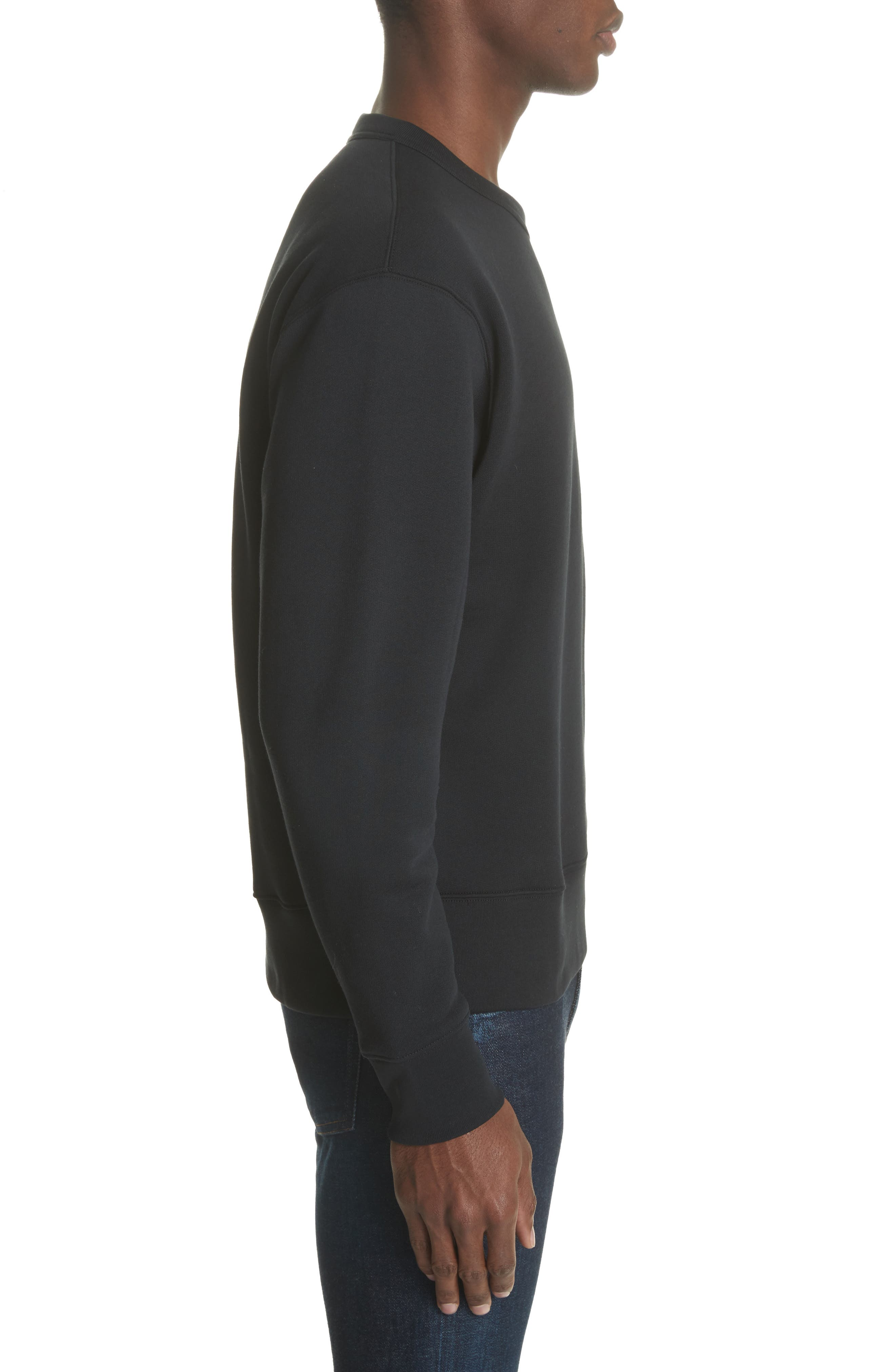 ACNE STUDIOS, Fairview Face Crewneck Sweatshirt, Alternate thumbnail 3, color, BLACK