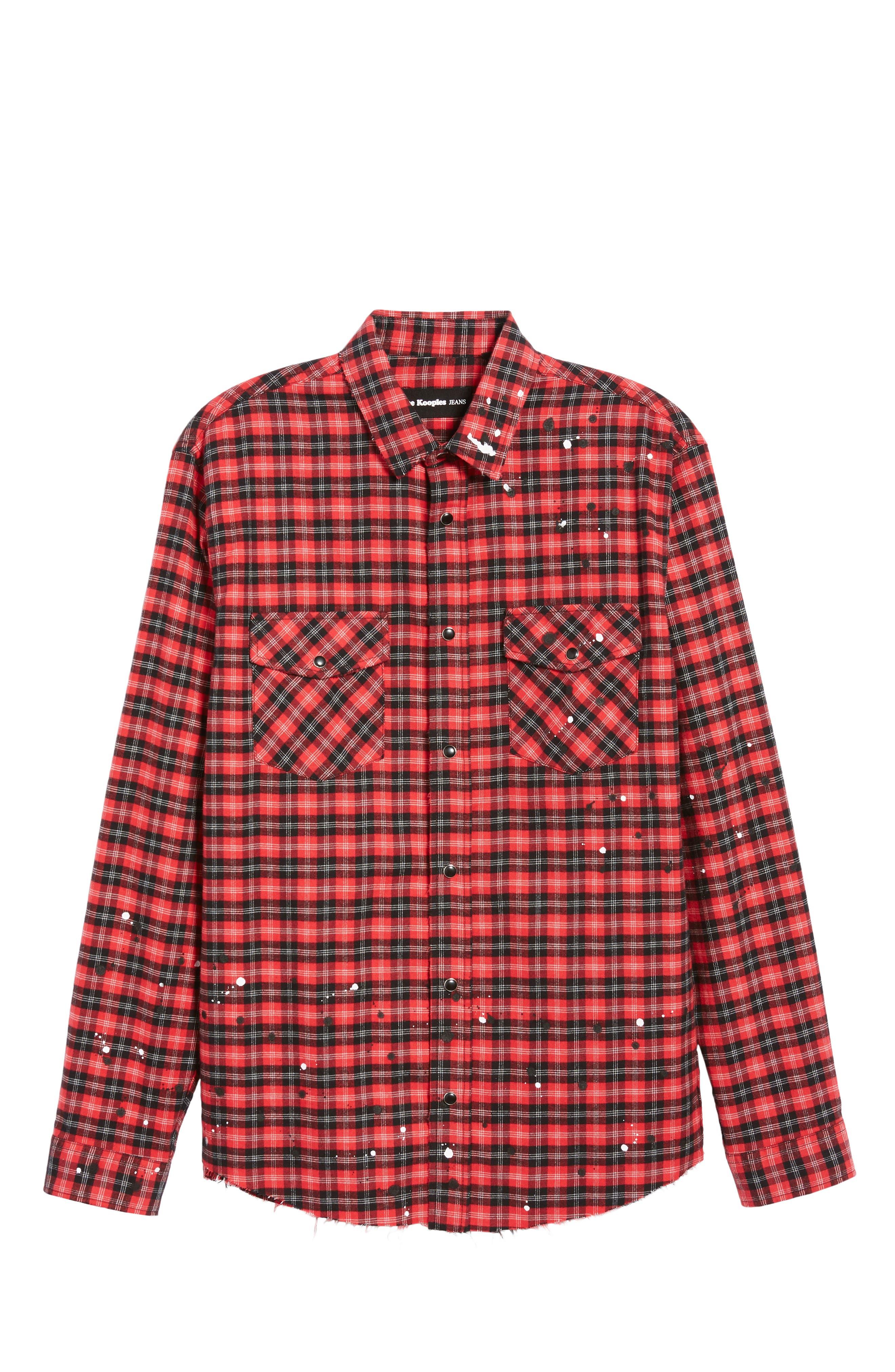 THE KOOPLES, Slim Fit Paint Spatter Flannel Shirt, Alternate thumbnail 5, color, 600