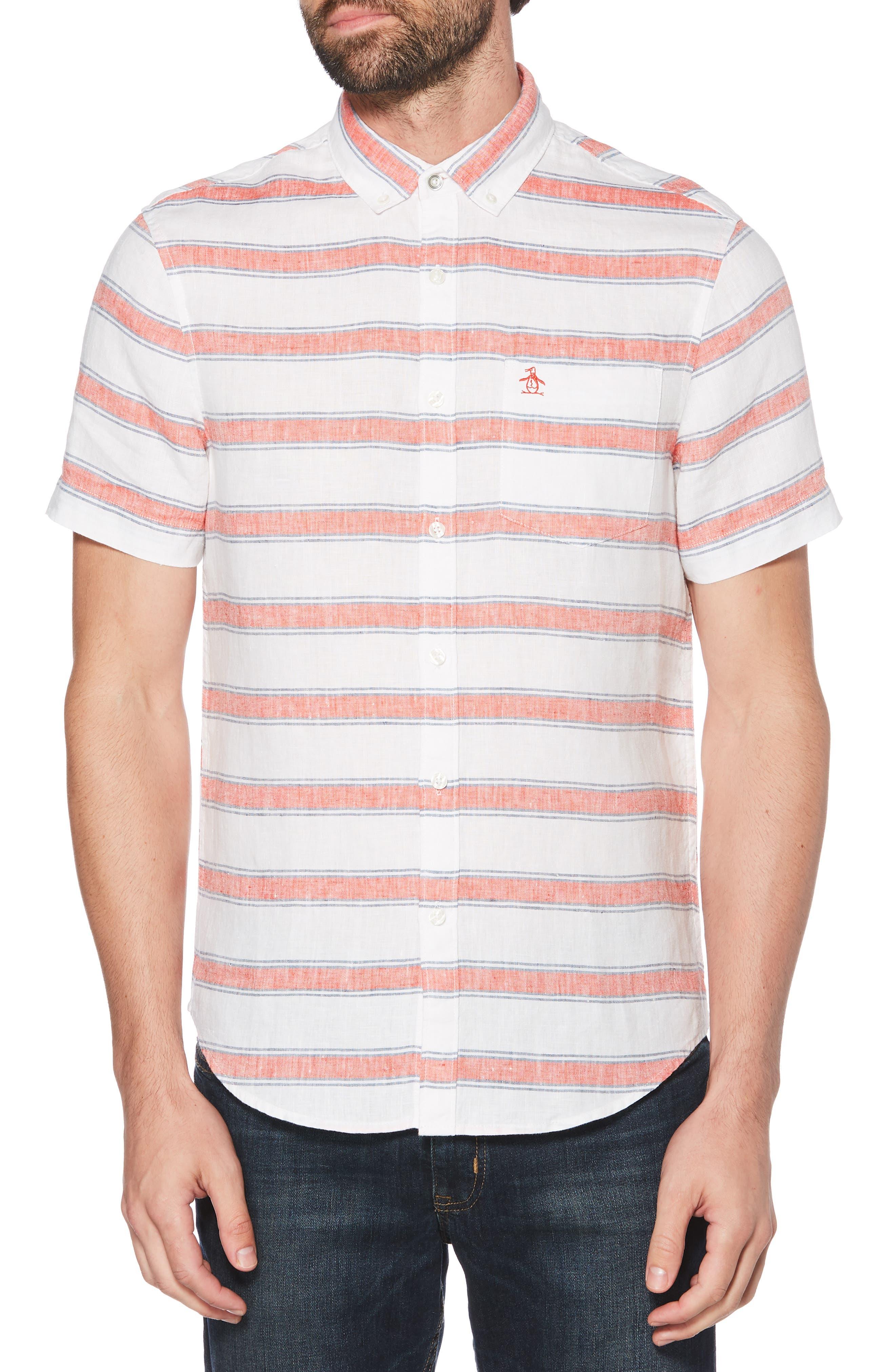 ORIGINAL PENGUIN, Horizontal Stripe Linen Shirt, Main thumbnail 1, color, BRIGHT WHITE