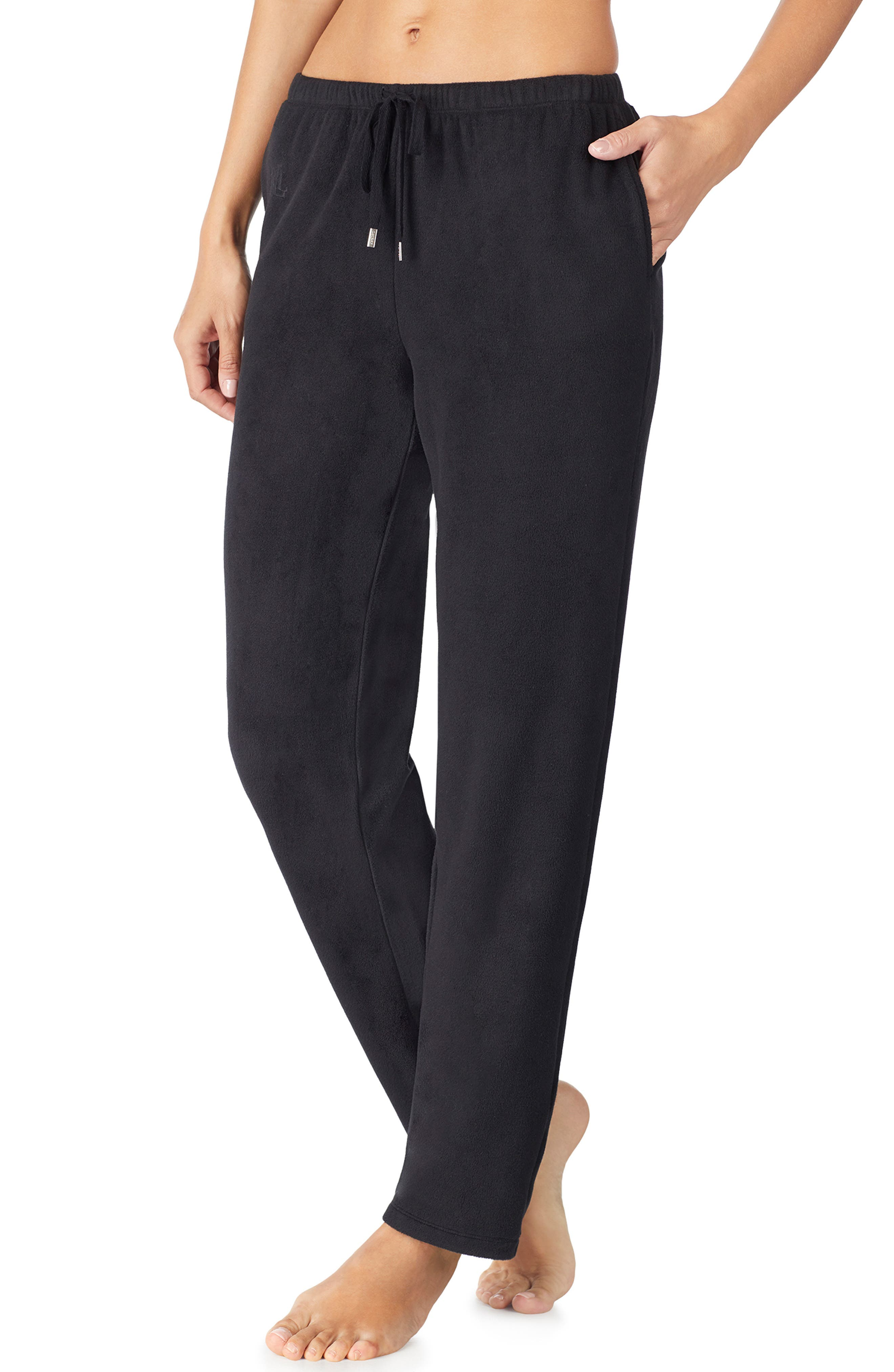 LAUREN RALPH LAUREN, Lounge Pants, Main thumbnail 1, color, BLACK